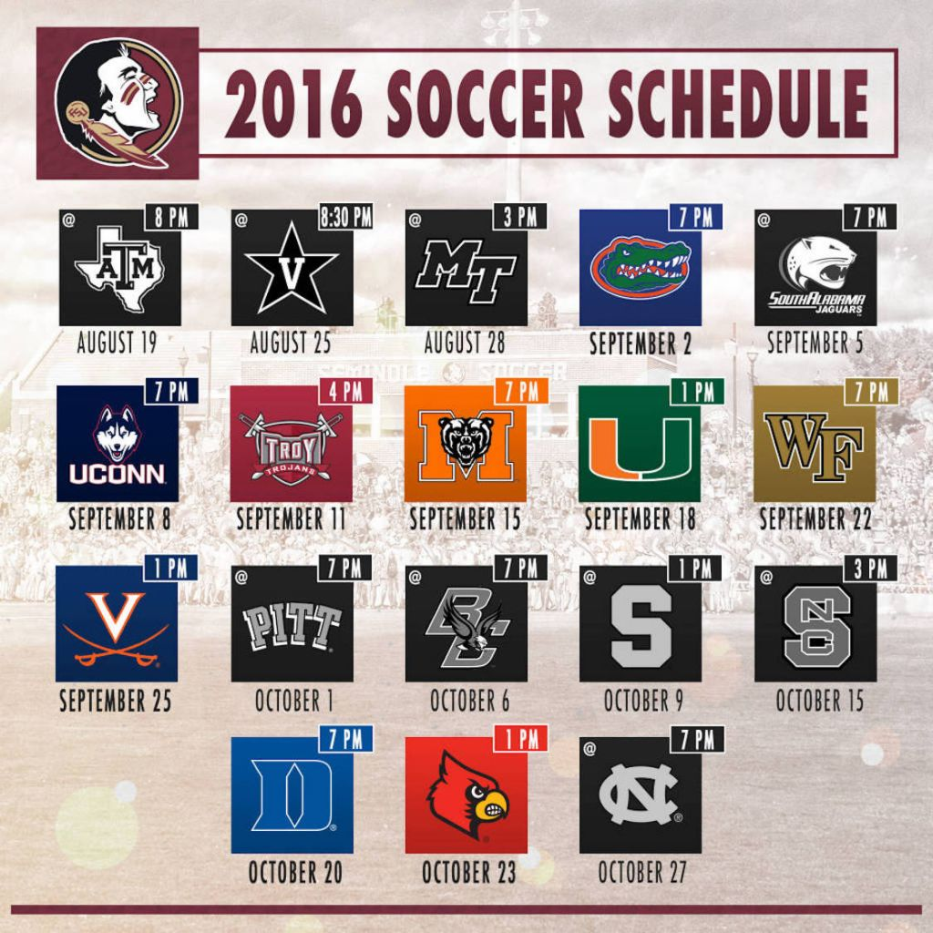 Florida State Releases 2016 Schedule