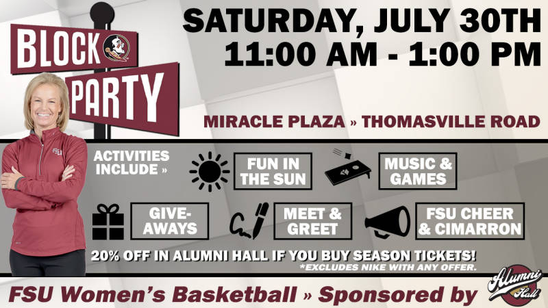 #FSUWBB Block Party This Saturday!