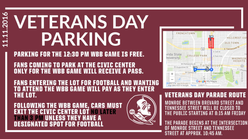 Veterans Day Parking Information