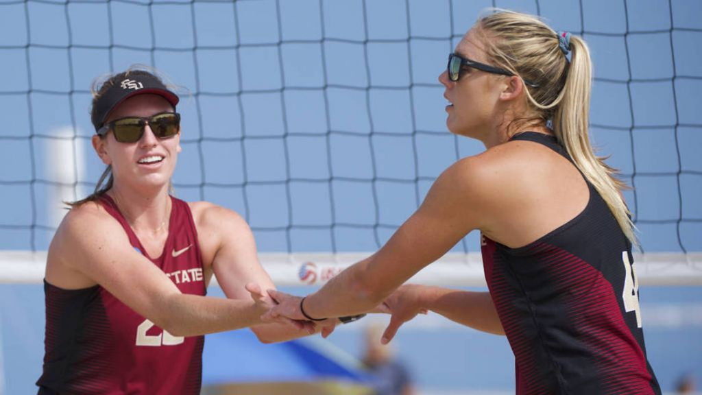 Two Pairs Split Matches on Day One of USAV Collegiate Beach Championship.