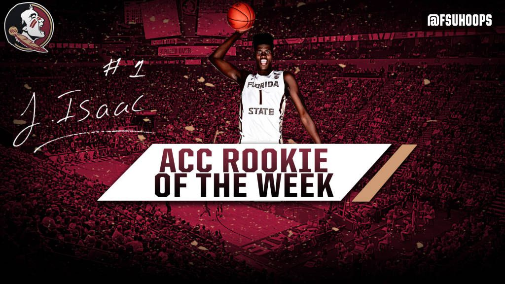 Isaac Named ACC Rookie Of The Week; Seminoles Nationally Ranked