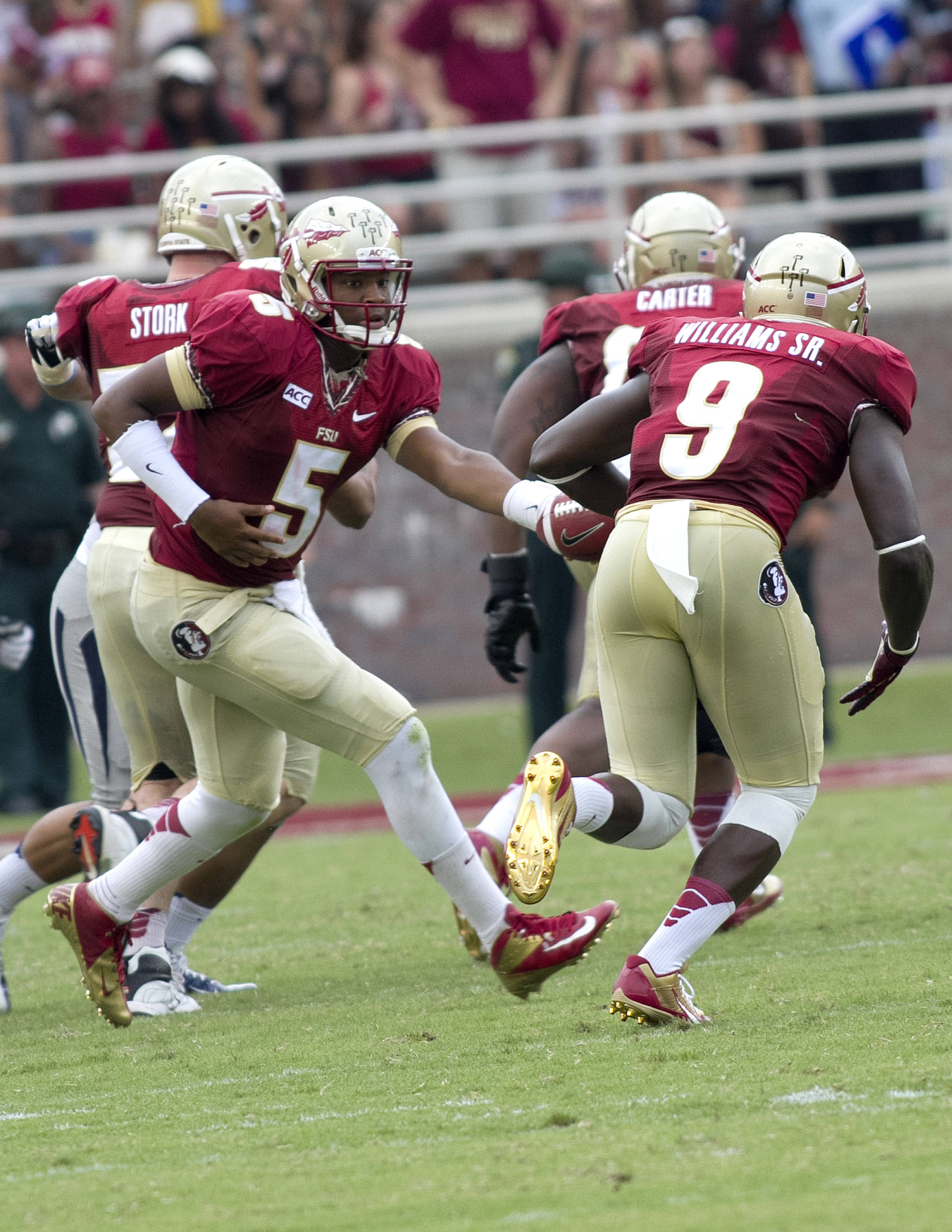 Jameis Winston (5), Karlos Williams, Jr. (9), FSU vs Nevada,  9-14-13, (Photo by Steve Musco)