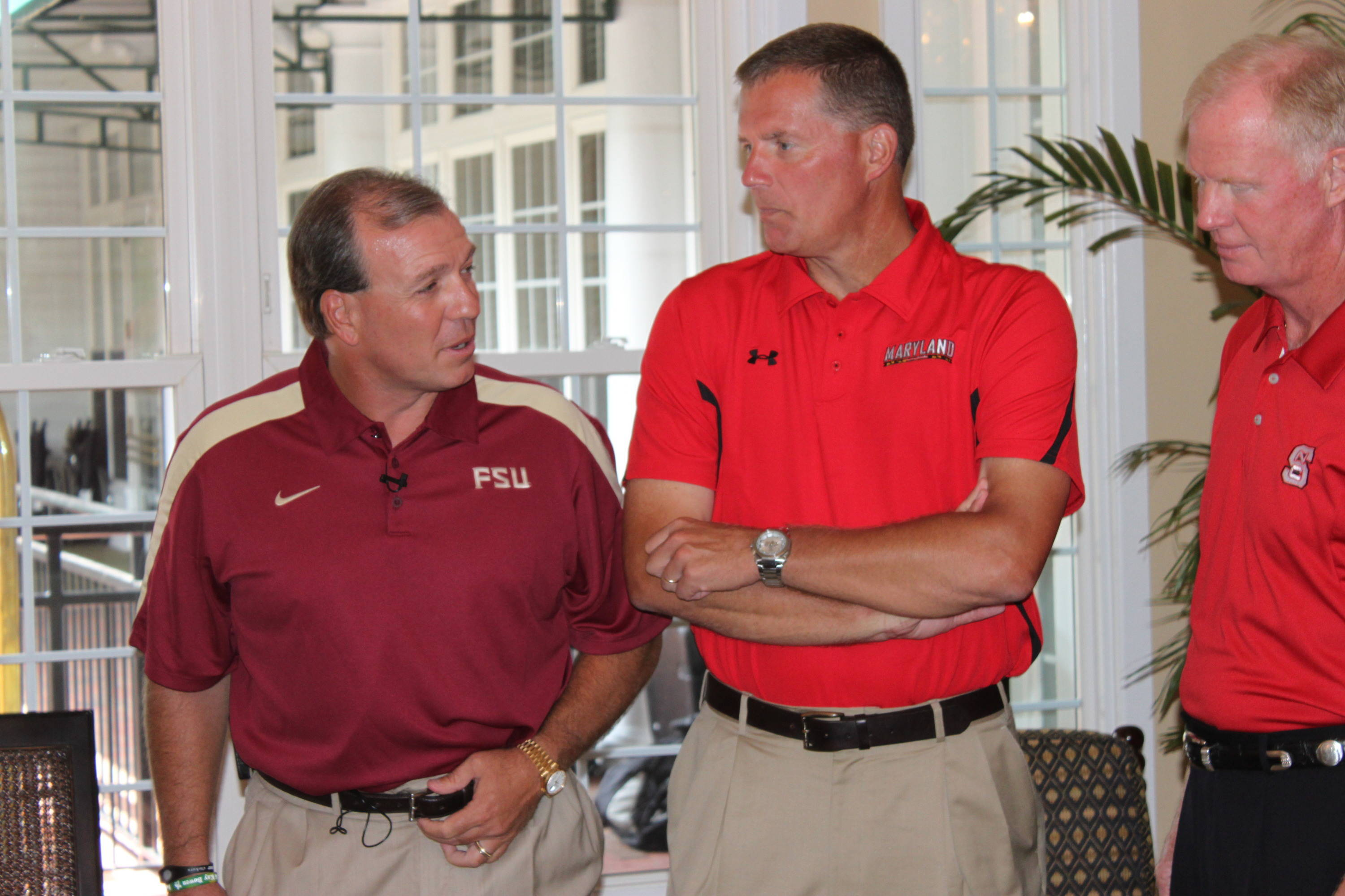 Jimbo Fisher with Maryland head coach Randy Edsall and NC State head coach Tom O'Brien