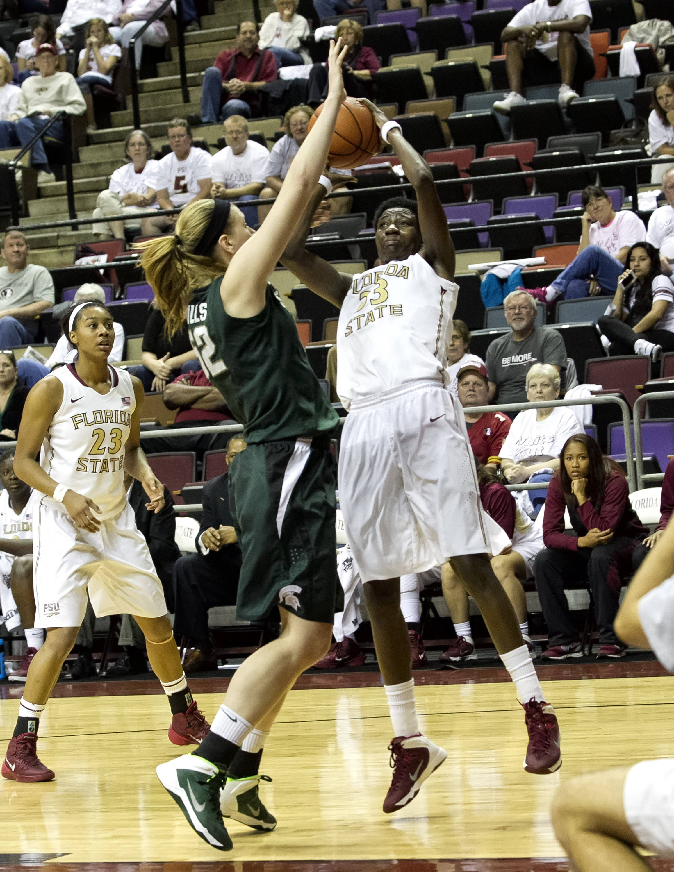 Natasha Howard (33), Ivey Slaughter (23), FSU vs Michigan State, 12-04-13,  (Photo by Steve Musco)