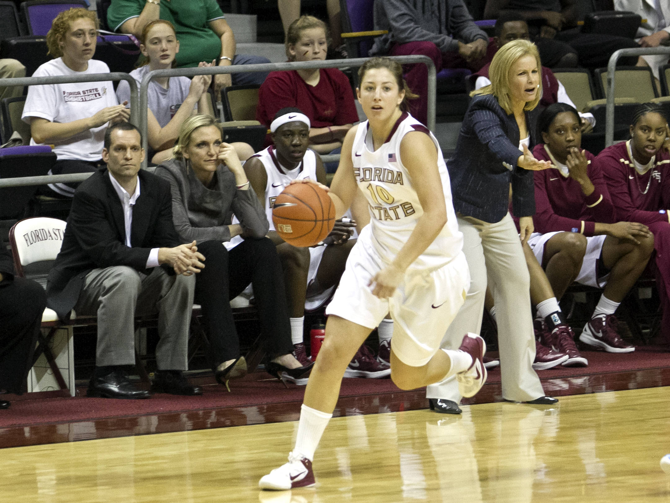 Leonor Rodriguez (10, Head Coach Sue Semrau, FSU vs NC,  02/15/2012