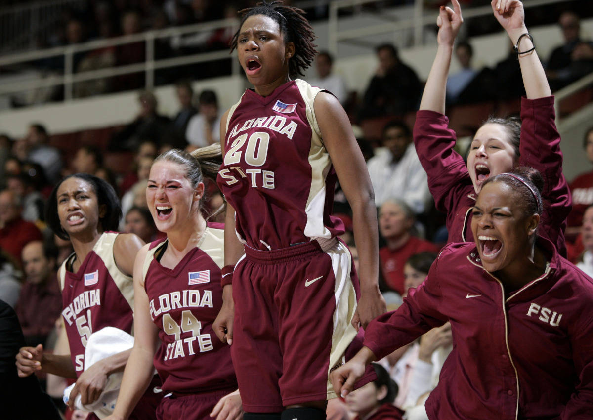 Florida State players celebrate a score late in the second half against Stanford during a second-round game in the NCAA women's basketball tournament in Stanford, Calif., Monday, March 19, 2007. Florida State upset Stanford 68-61. (AP Photo/Paul Sakuma)