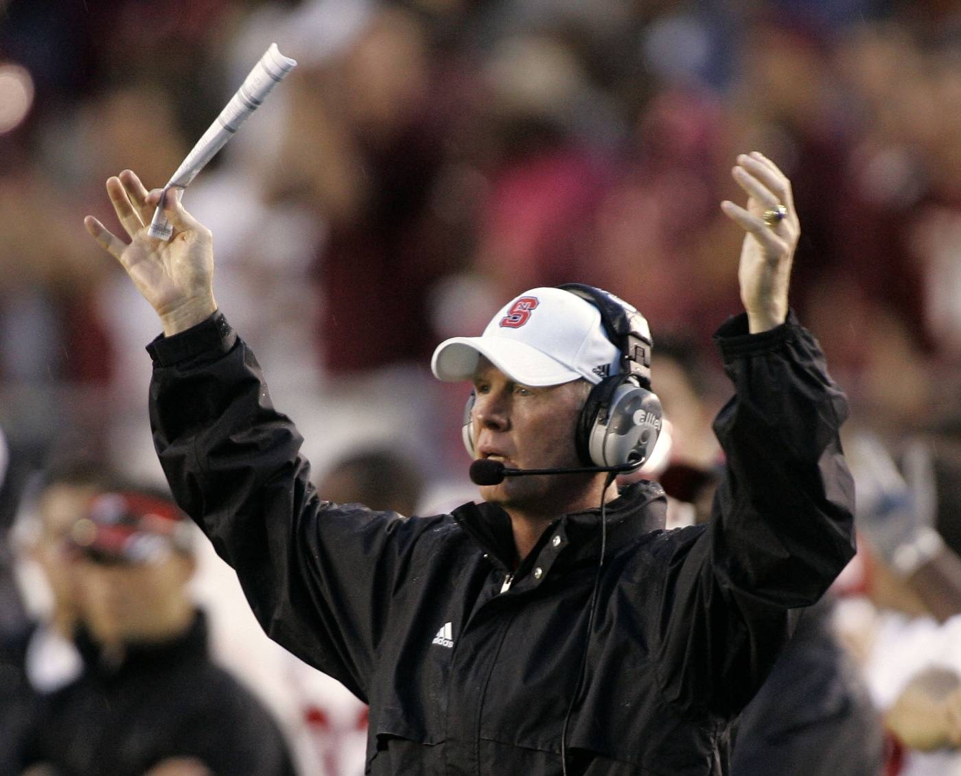 North Carolina State head coach Tom O' Brien reacts to a pass interference call that goes against his team during the fourth quarter. (AP Photo/Phil Coale)