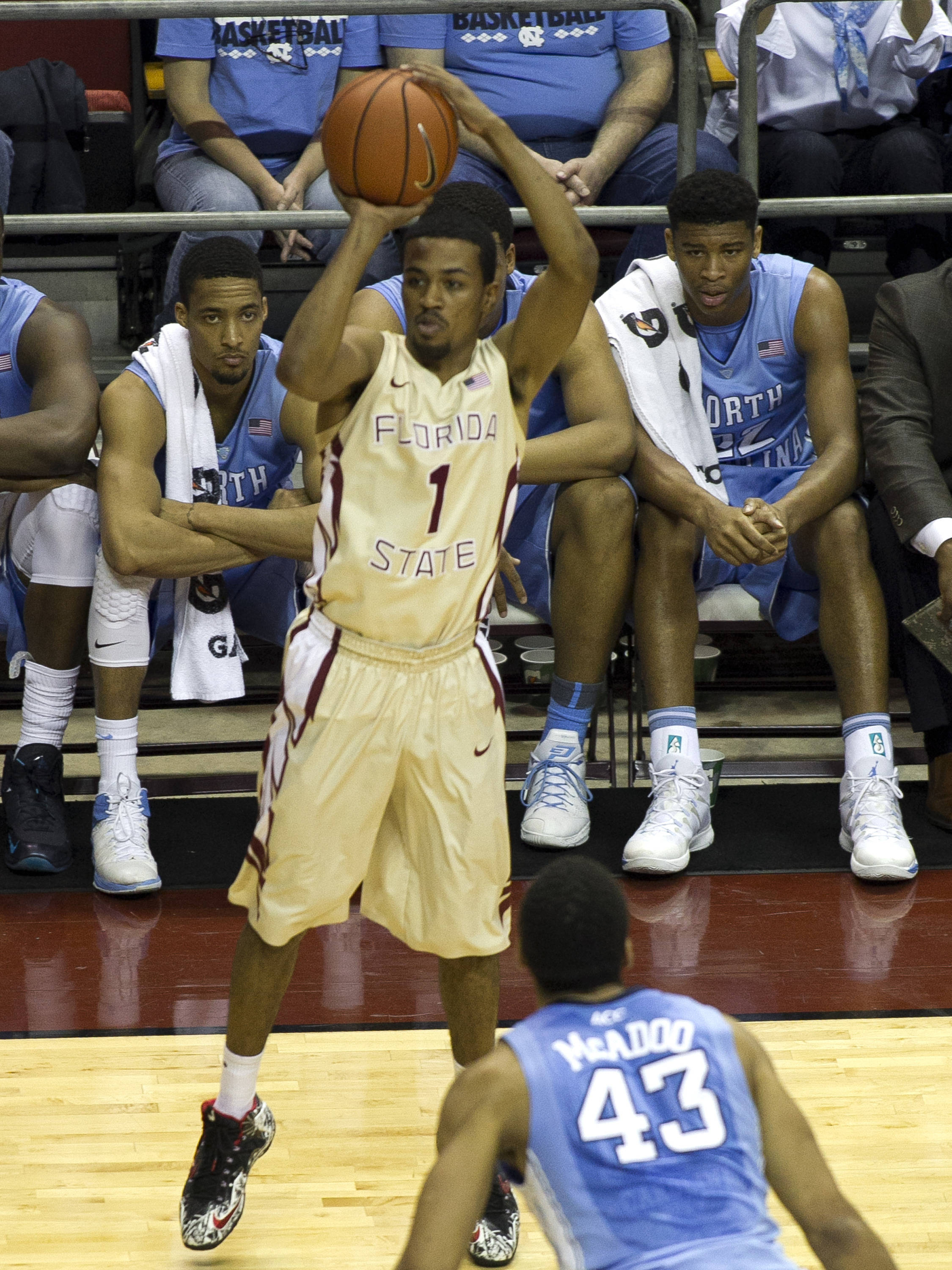 Devon Bookert (1) with a long three, FSU vs North Carolina, 2-17-14, (Photo's by Steve Musco)