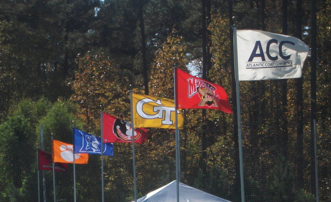 Flags flying high on the game field at WakeMed Park.