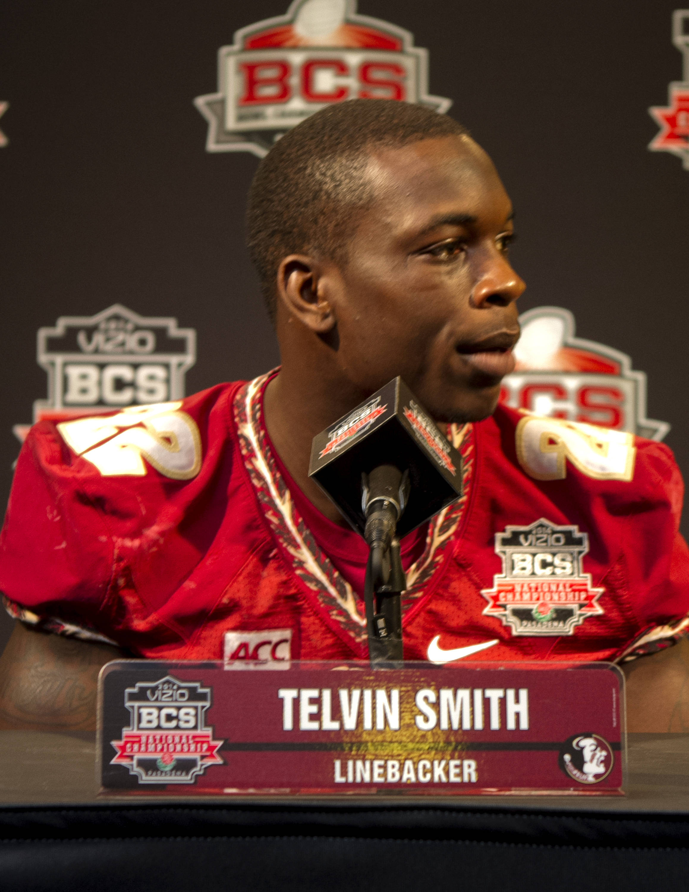 Telvin Smith (22), FSU at BCS Championship Media Day,  1-04-14,  (Photo by Steve Musco)