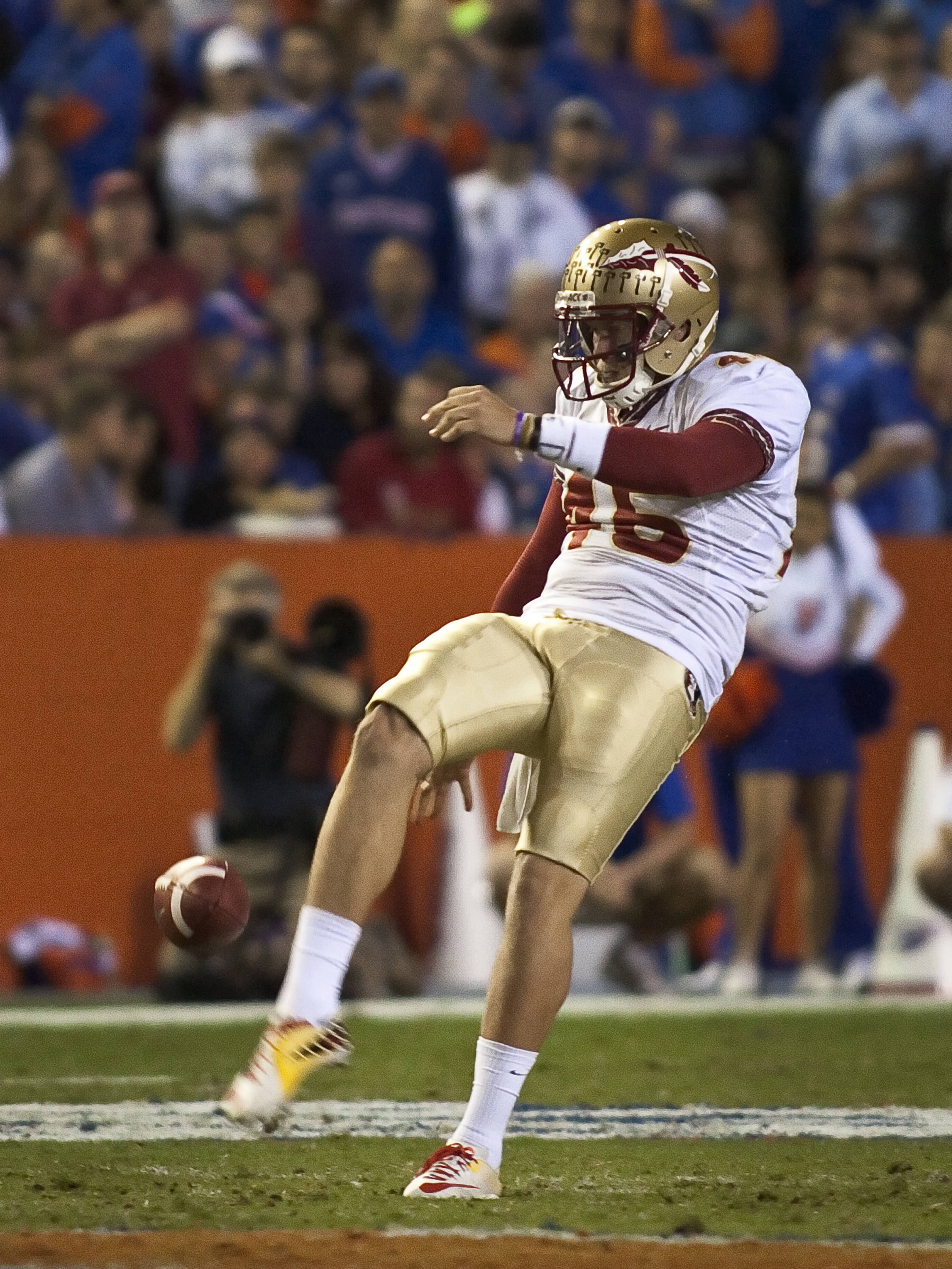 Punter Shawn Powell (46), FSU vs Florida, 11/26/2011