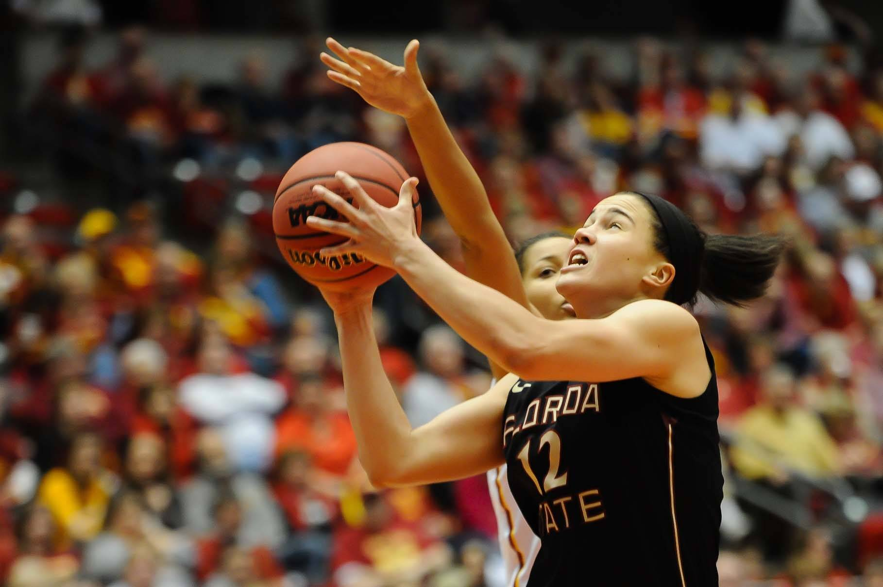 Mar 22, 2014; Ames, IA, USA; Florida State Seminoles guard Brittany Brown (12) drives to the basket against the Iowa State Cyclones. Mandatory Credit: Steven Branscombe-USA TODAY Sports