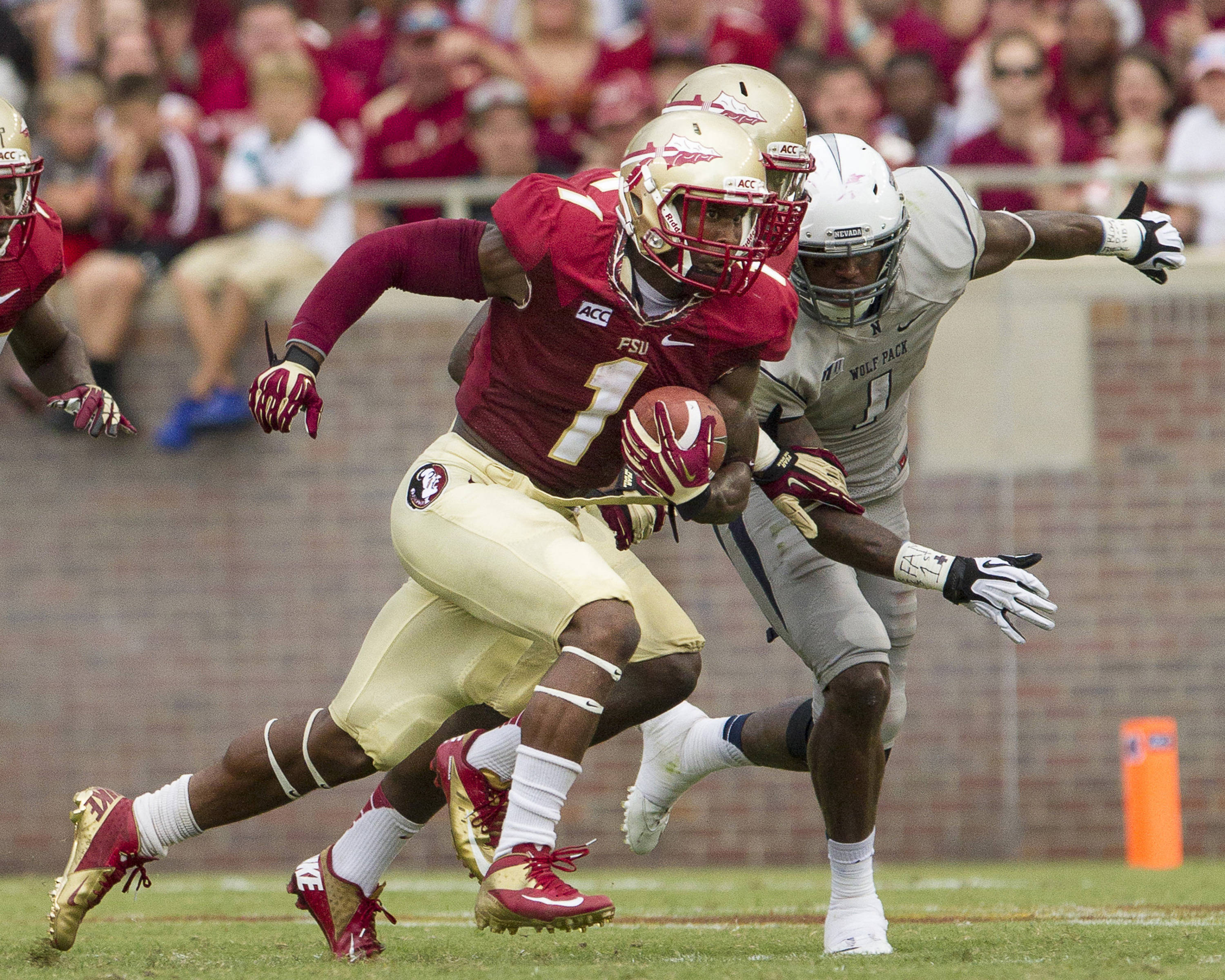Kelvin Benjamin (1) carries the ball during FSU's 62-7 win over Nevada on Saturday, Sept 14, 2013 in Tallahassee, Fla.