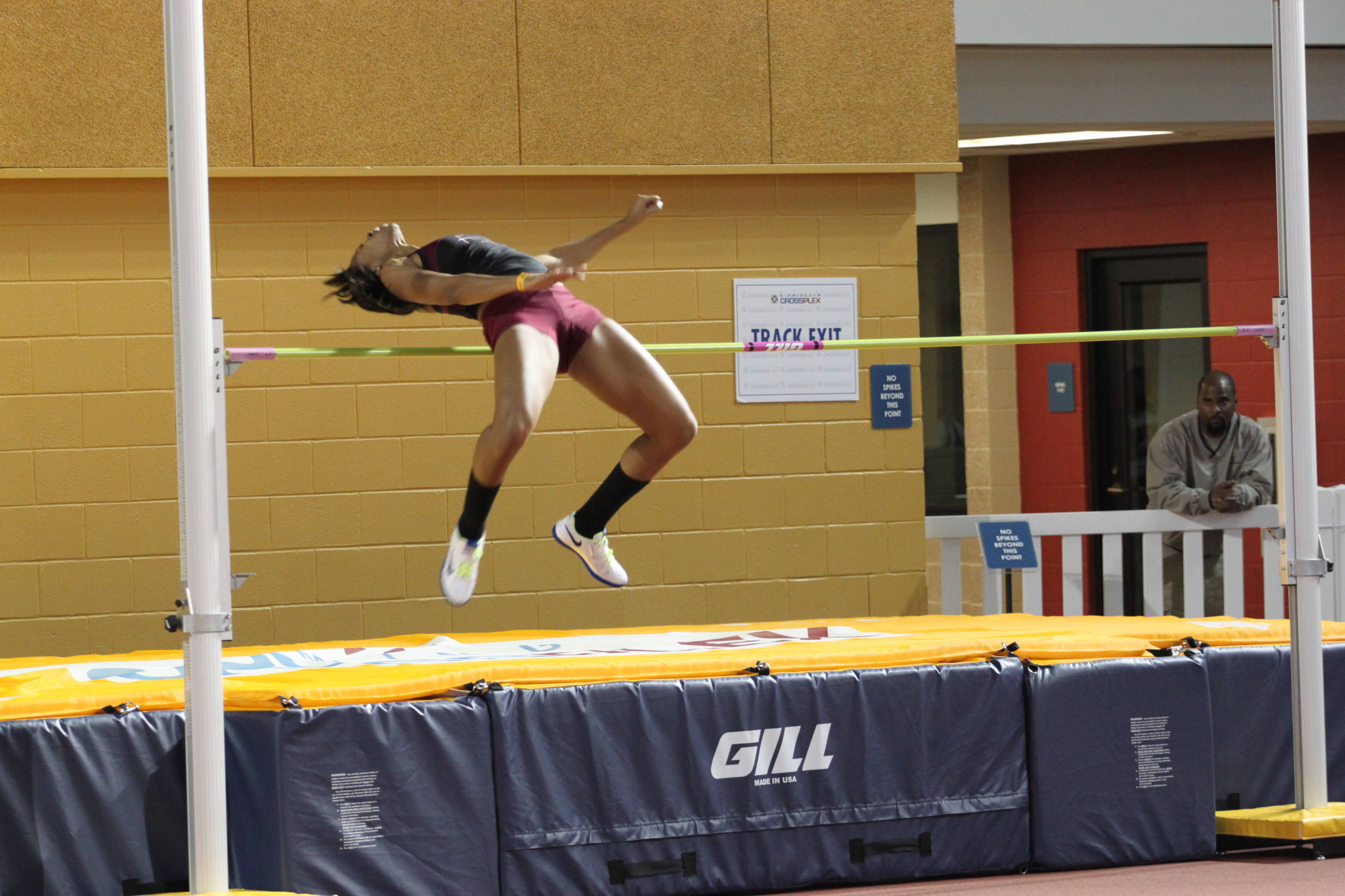 Danielle Williams makes a late attempt in the high jump.