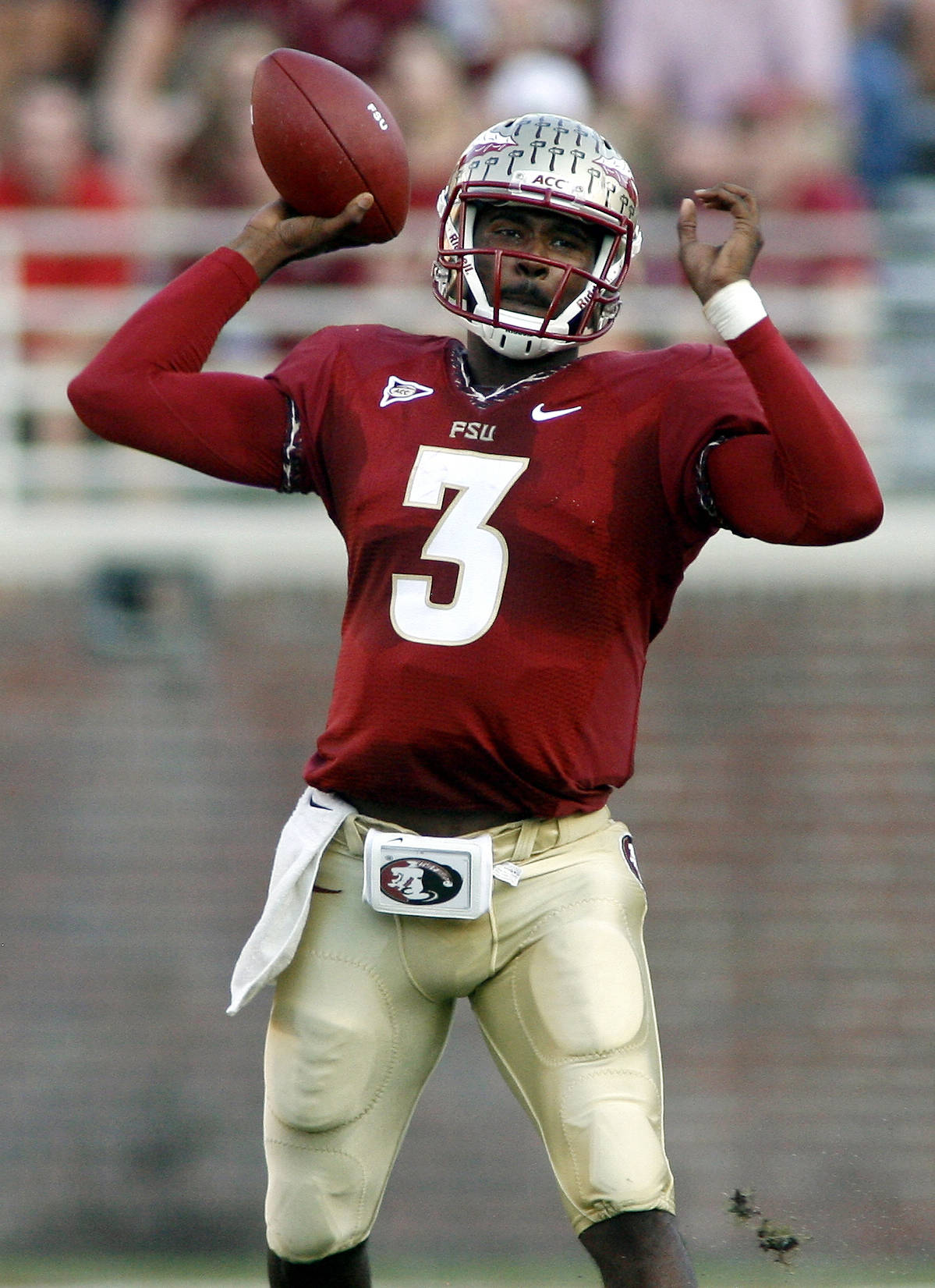 Florida State quarterback E.J. Manuel (3) throws during the first quarter. (AP Photo/Phil Sears)