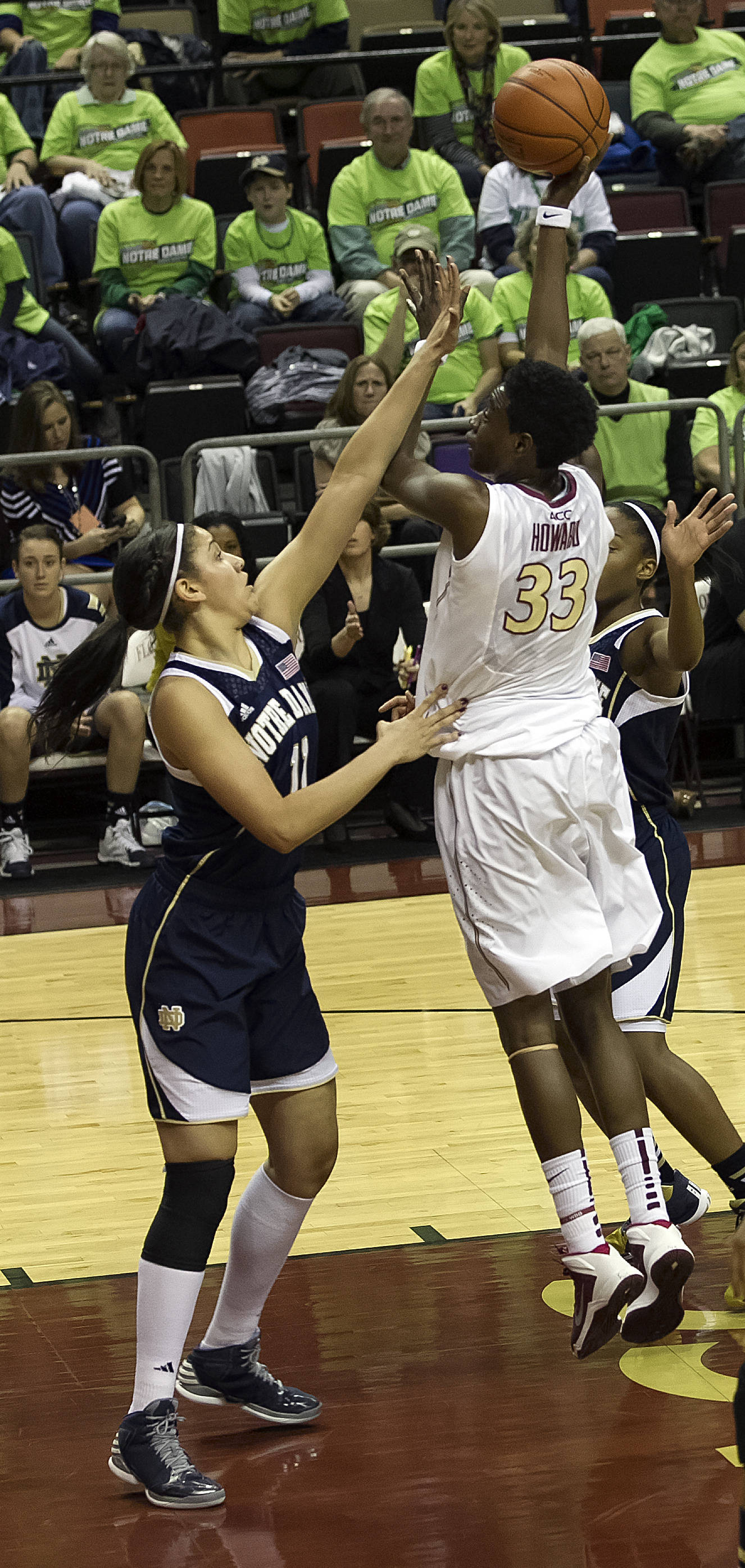 Natasha Howard (33),  with a jump hook in the paint, FSU vs Notre Dame, 2-06-14, (Photo's by Steve Musco)