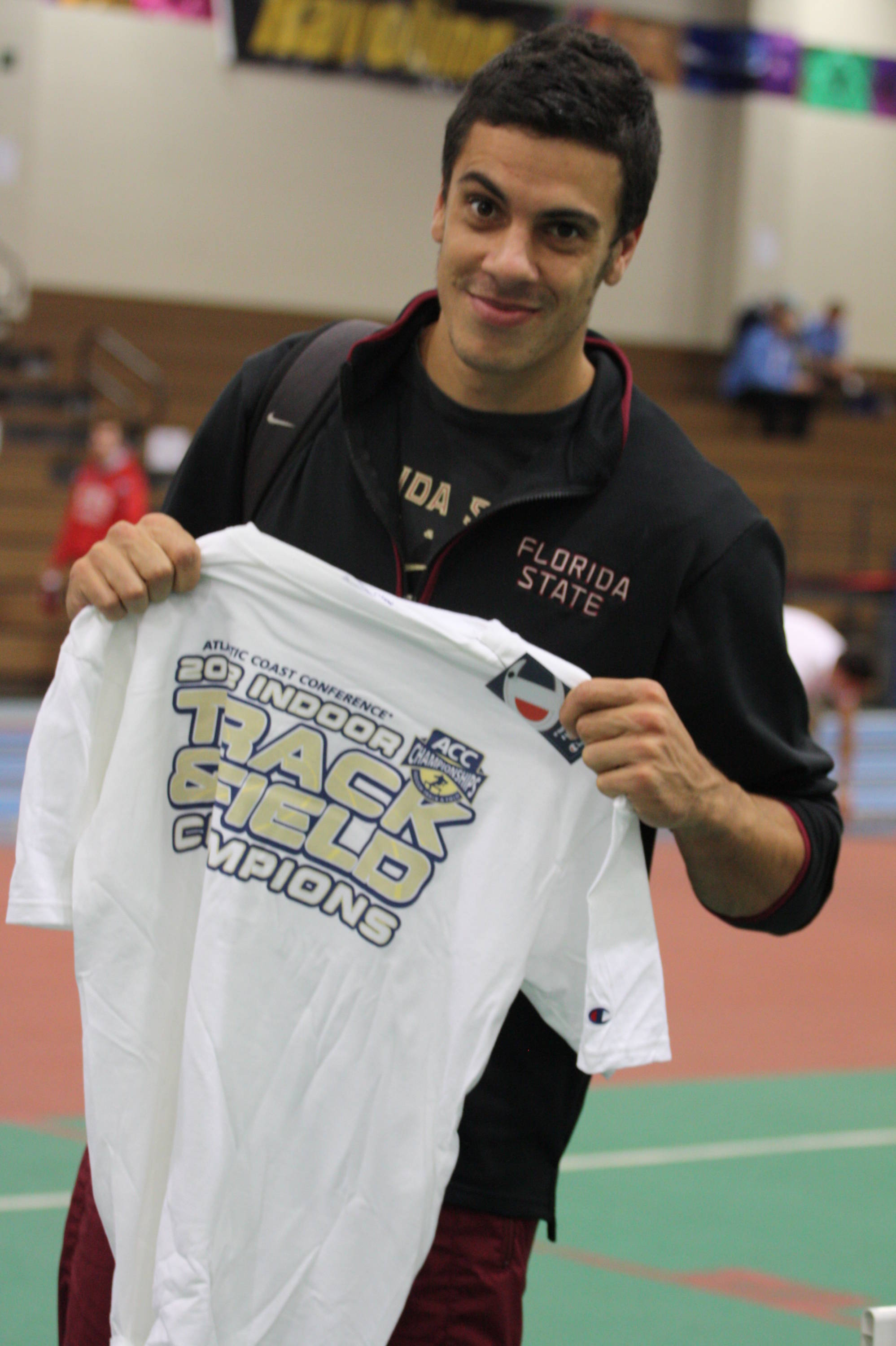 Gonzalo Barriolhet shows off his ACC Championship shirt.