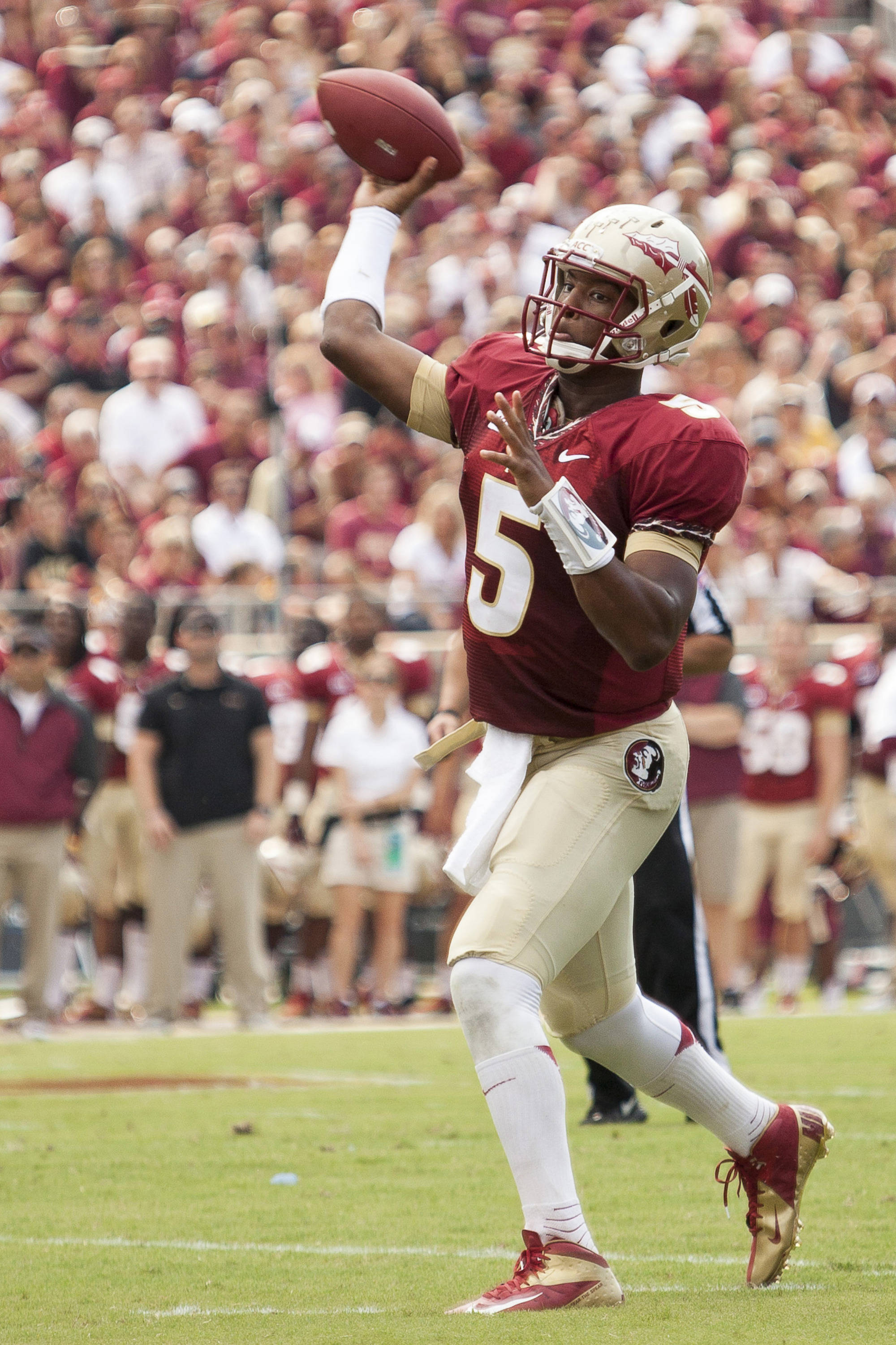 Jameis Winston (5) throws a pass during FSU's 62-7 win over Nevada on Saturday, Sept 14, 2013 in Tallahassee, Fla.