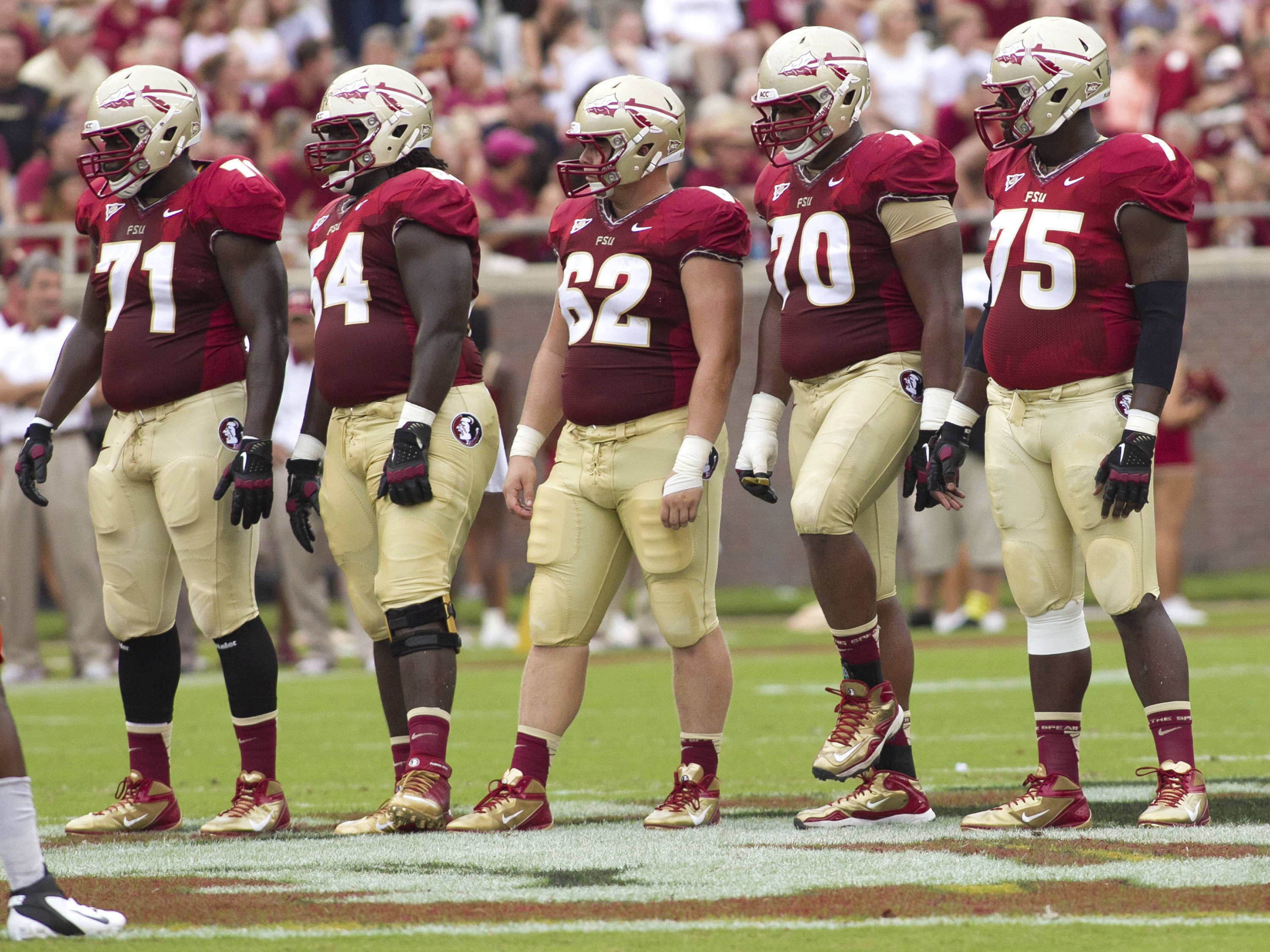 Offensive Live, Menelik Watson (71), Tre' Jackson (54), Austin Barron (62), Josue Matias (70), Cameron Erving (75),  FSU vs Savannah State, 9/8/12 (Photo by Steve Musco)