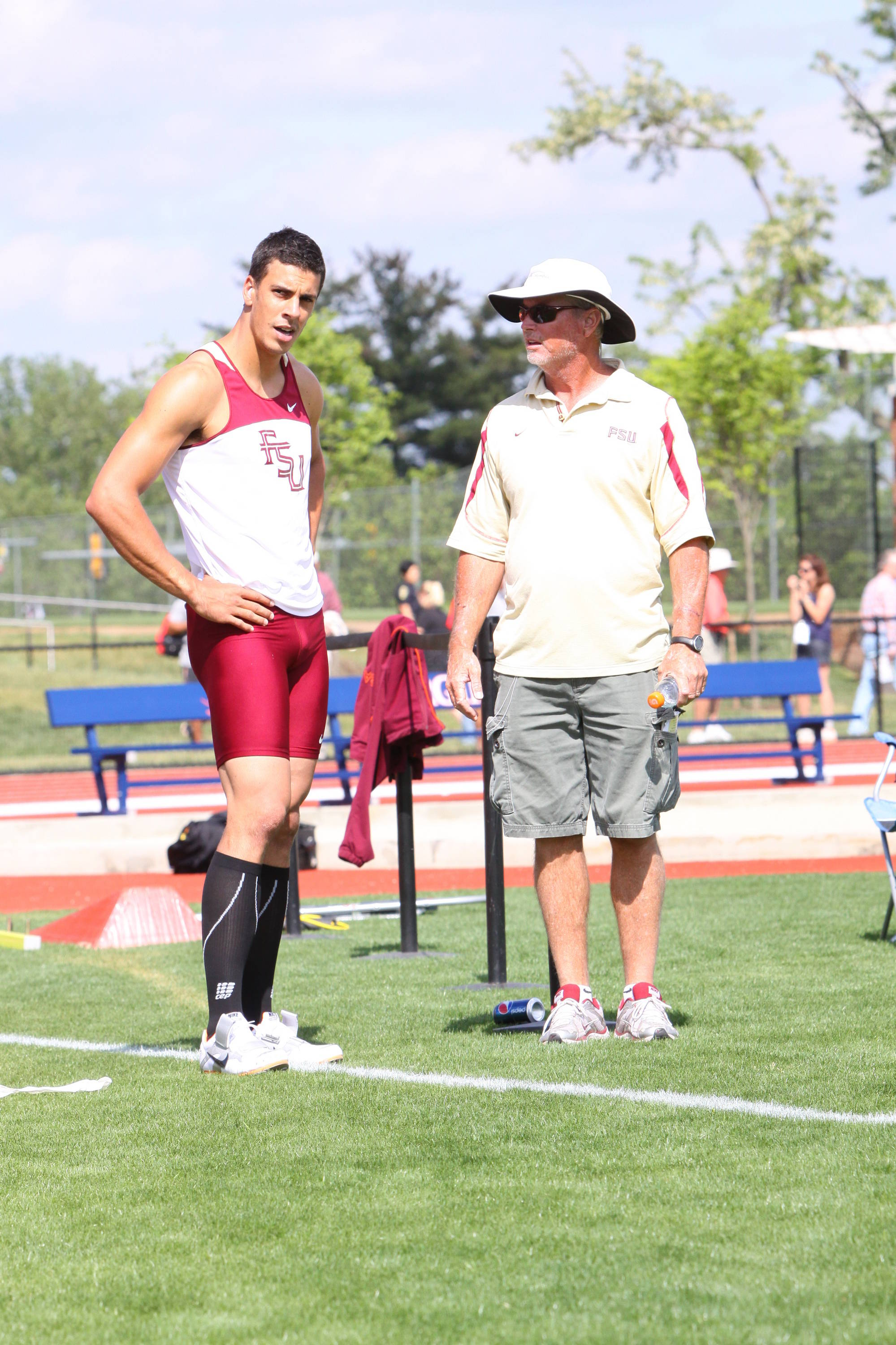 Dennis Nobles, FSU's multi-event, jumps and vaults coach, shared a few pearls of wisdom during the pole vault competition with his most accomplished decathlete in three decades of coaching.