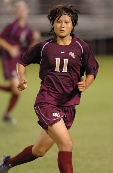 Mami Yamaguchi had a shot on goal against Virginia.