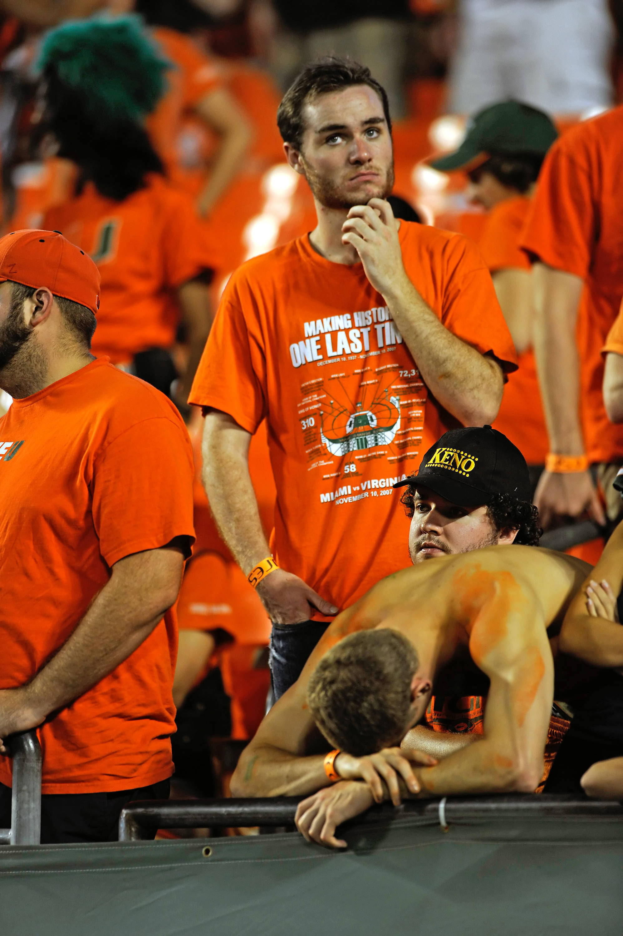Dejected Miami fans watch on as Florida State defeated Miami 45-17.