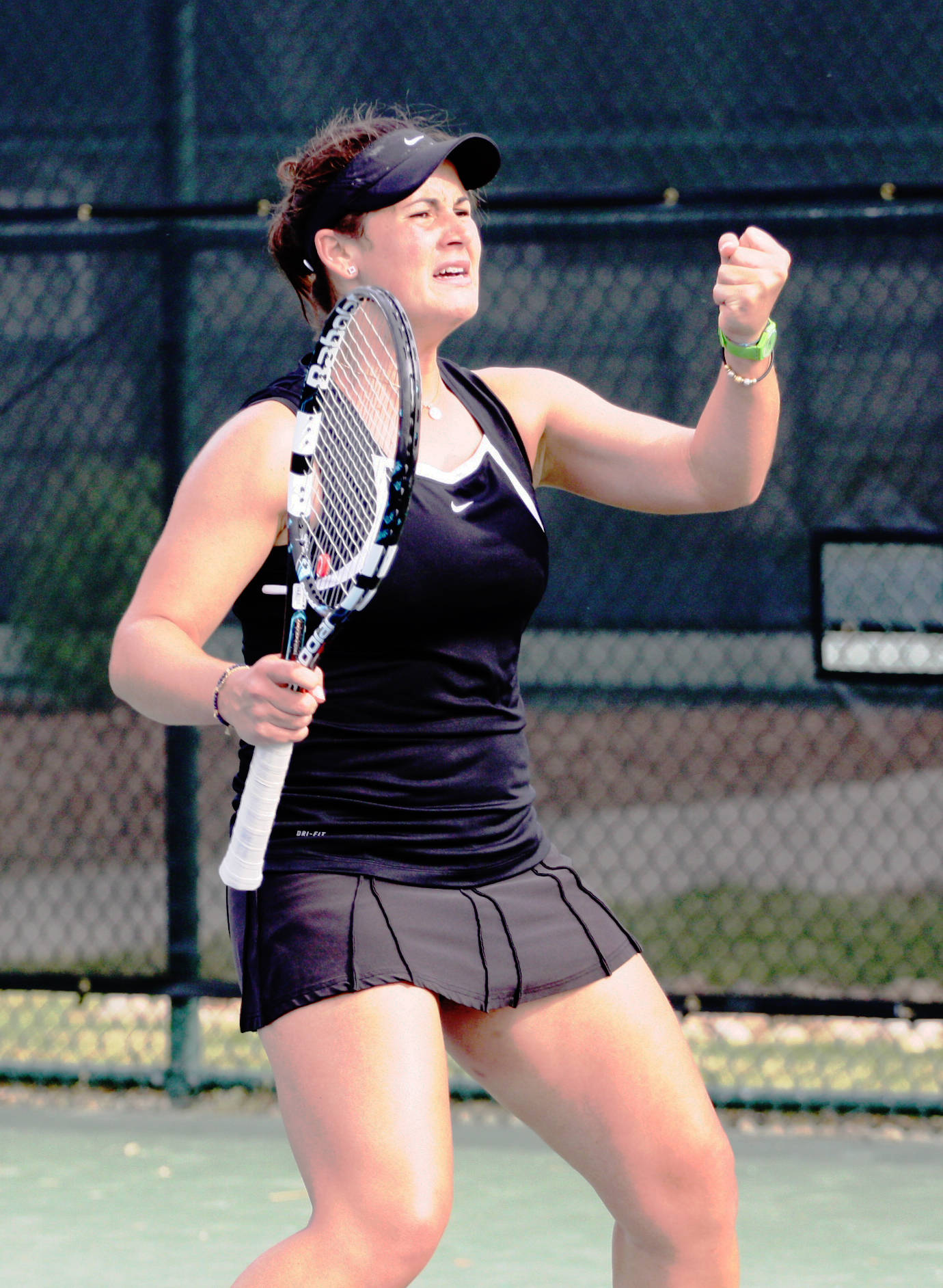 Francesca Segarelli pumps her fist after she clinched the match against Clemson.