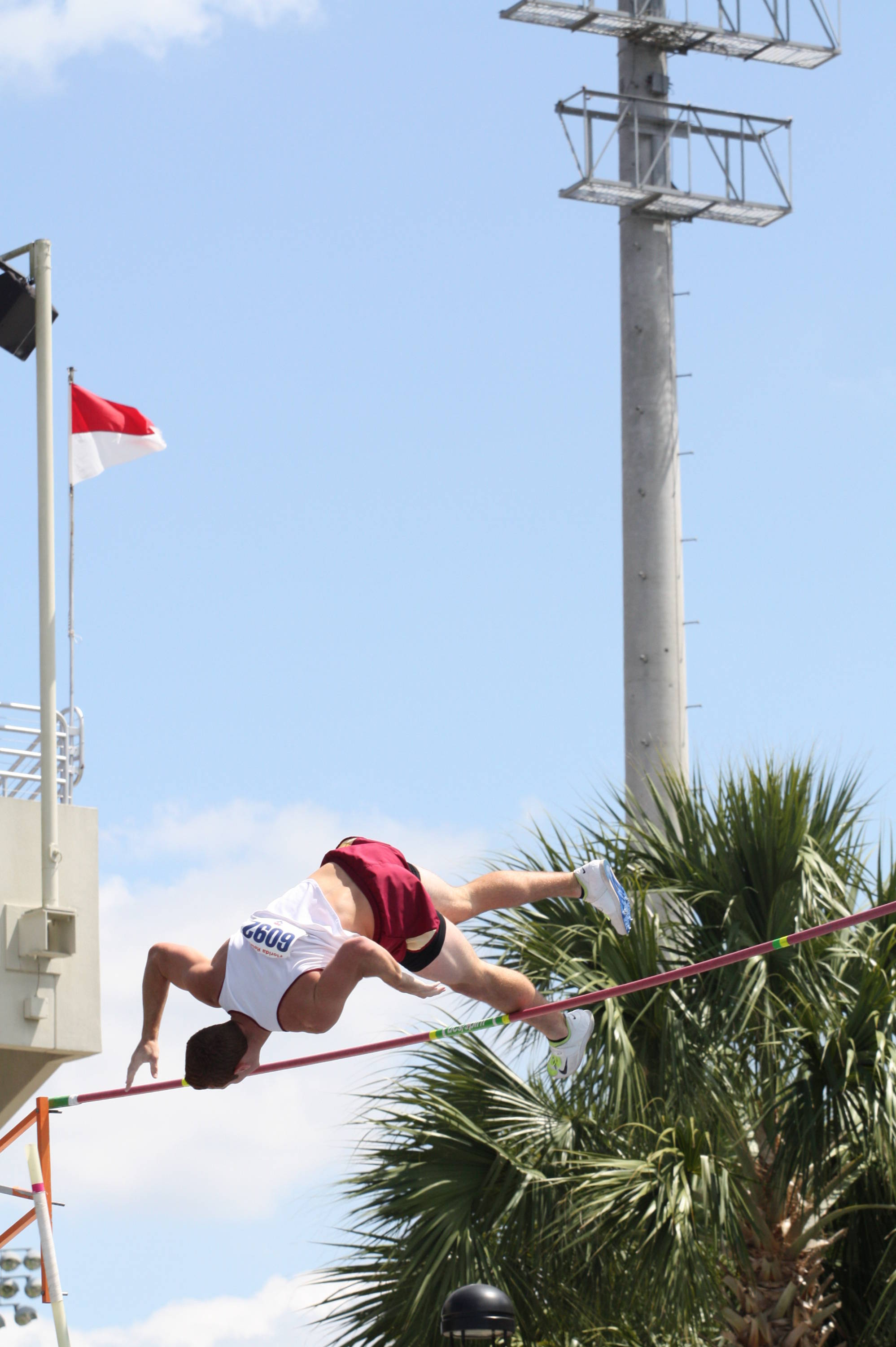 Drew Marcello gets upset down in pursuit of his career-best clearance of 5.10m