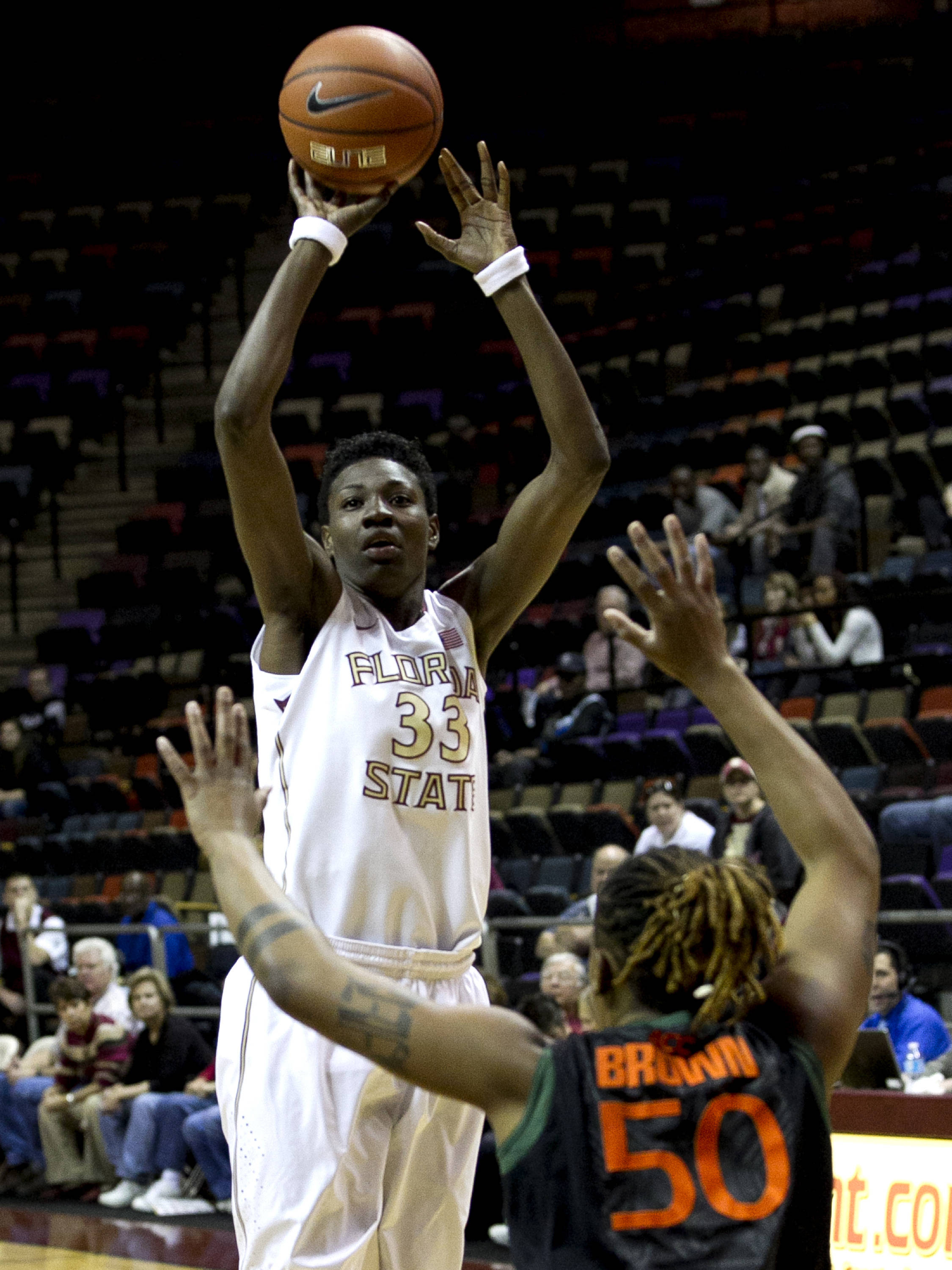 Natasha Howard (33) with a short jumper, FSU vs Miami, 2-16-14, (Photo's by Steve Musco)