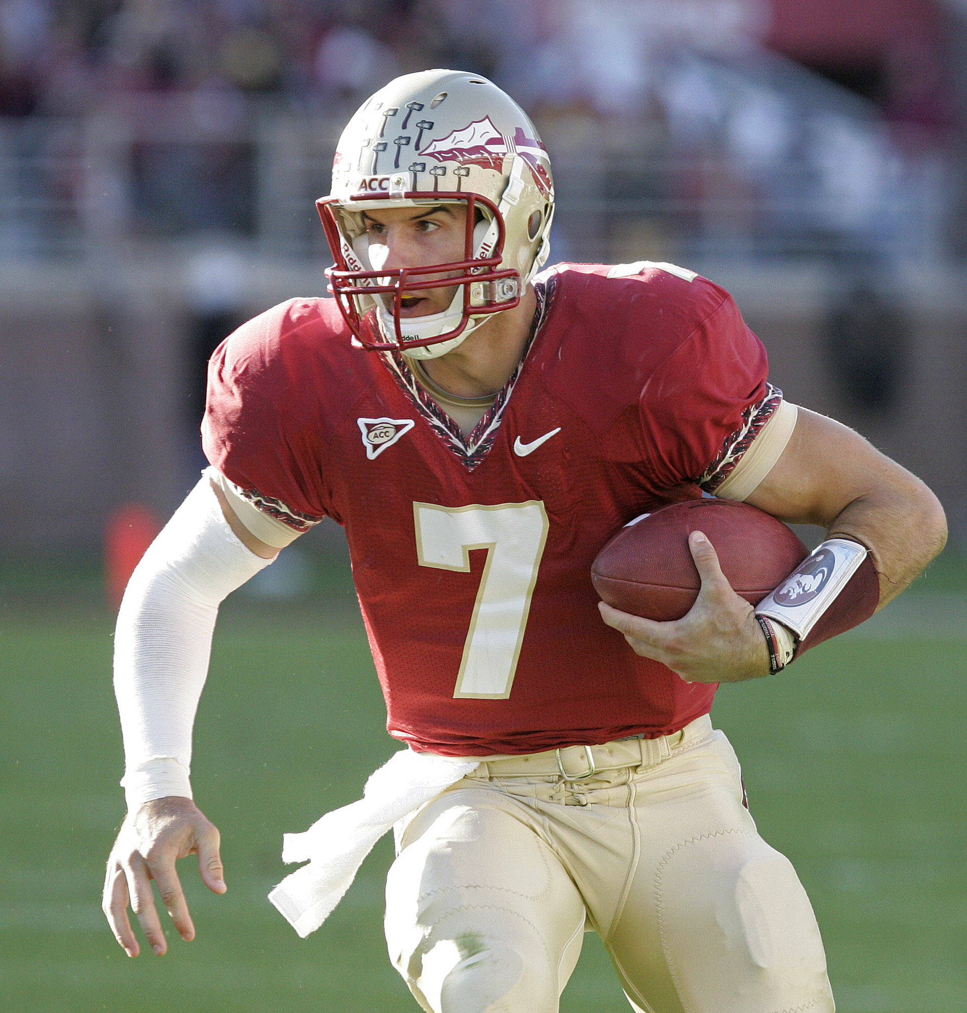 Florida State's Christian Ponder looks for running room against North Carolina on Saturday. (AP Photo/Steve Cannon)