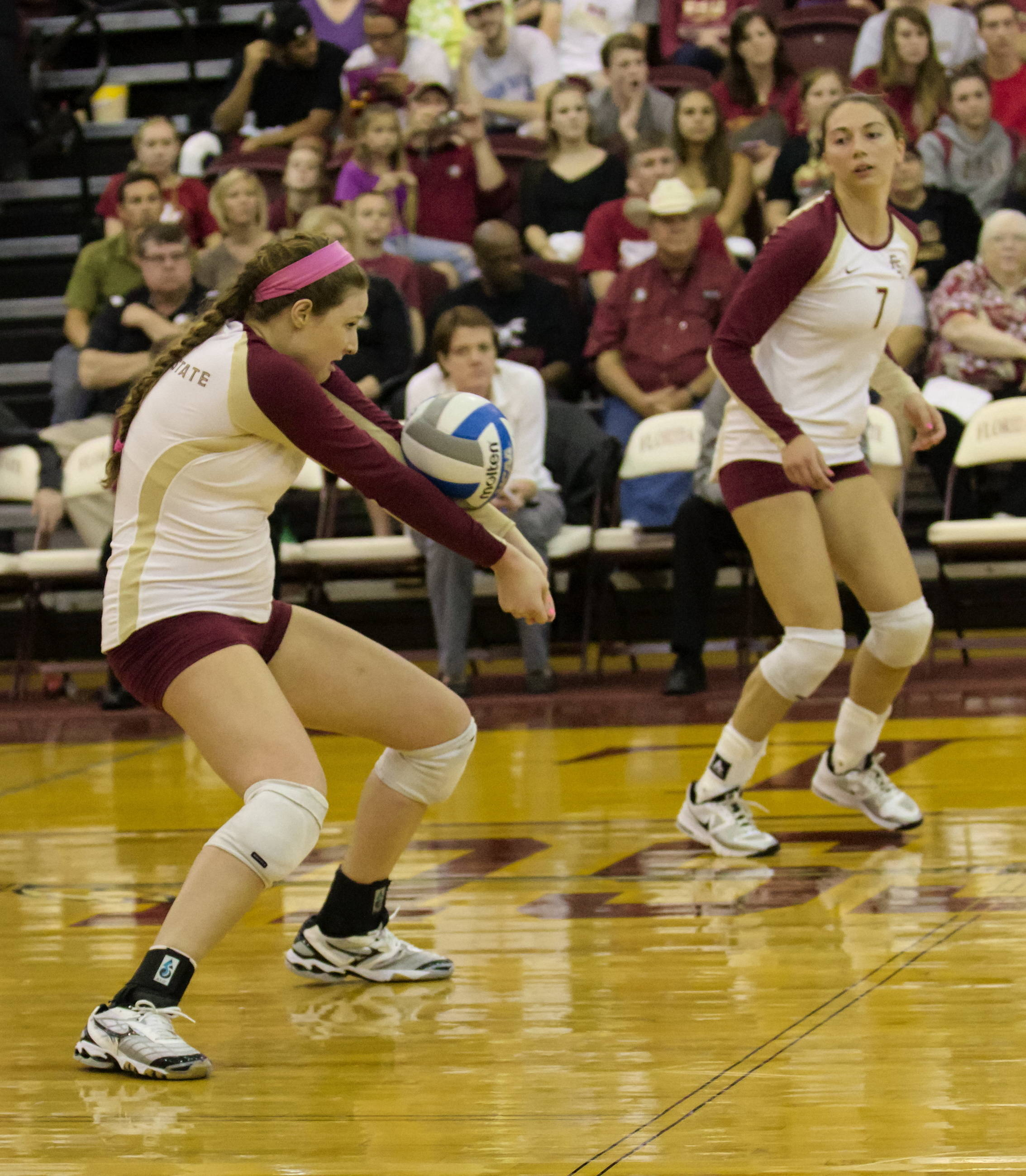 Nicole Walch (5), Fatma Yildirim (7), FSU vs Virginia, 10/26/12 (Photo by Steve Musco)