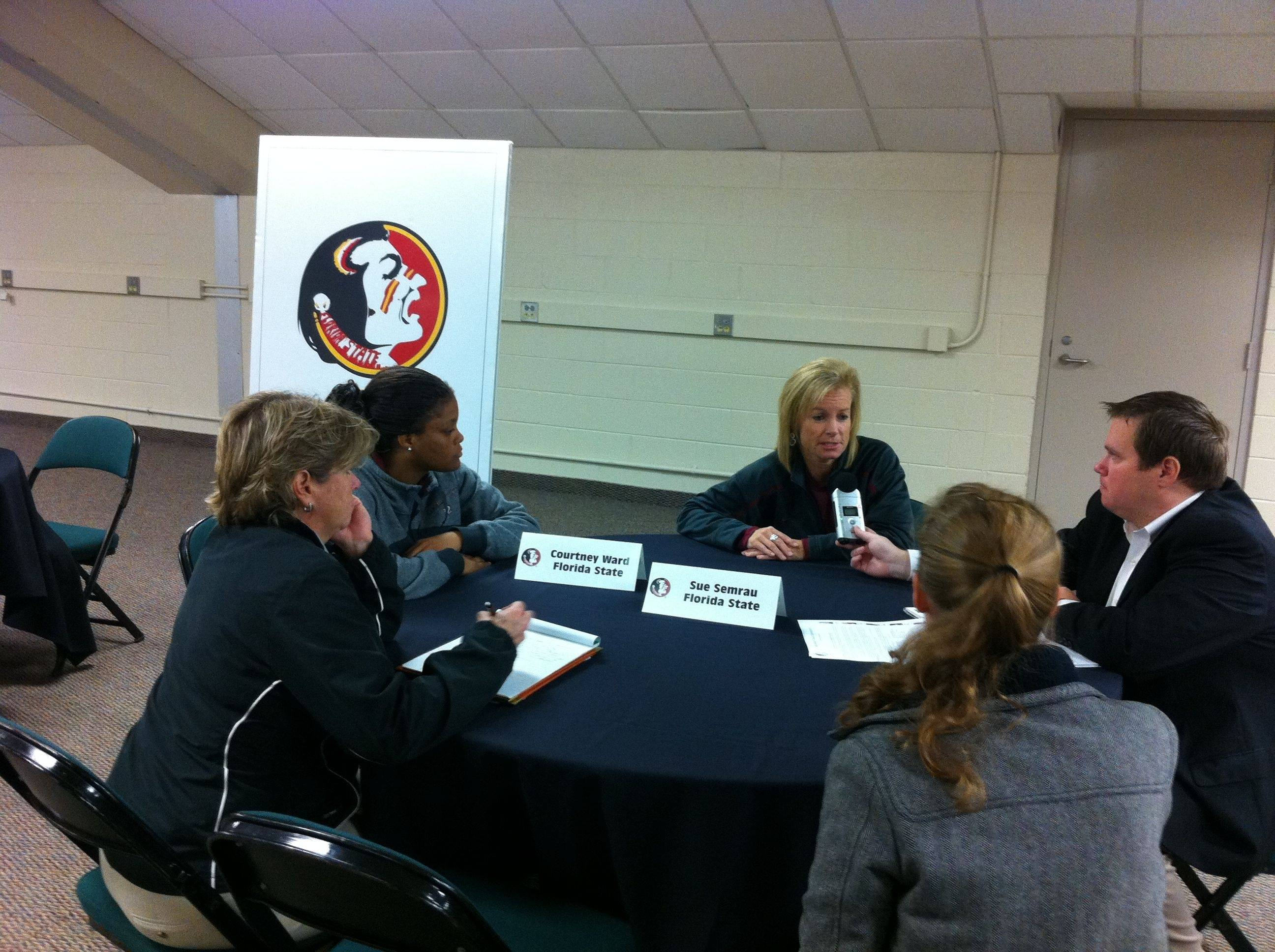 Head coach Sue Semrau and point guard Courtney Ward sat down and spoke with many media members over the course of an hour.
