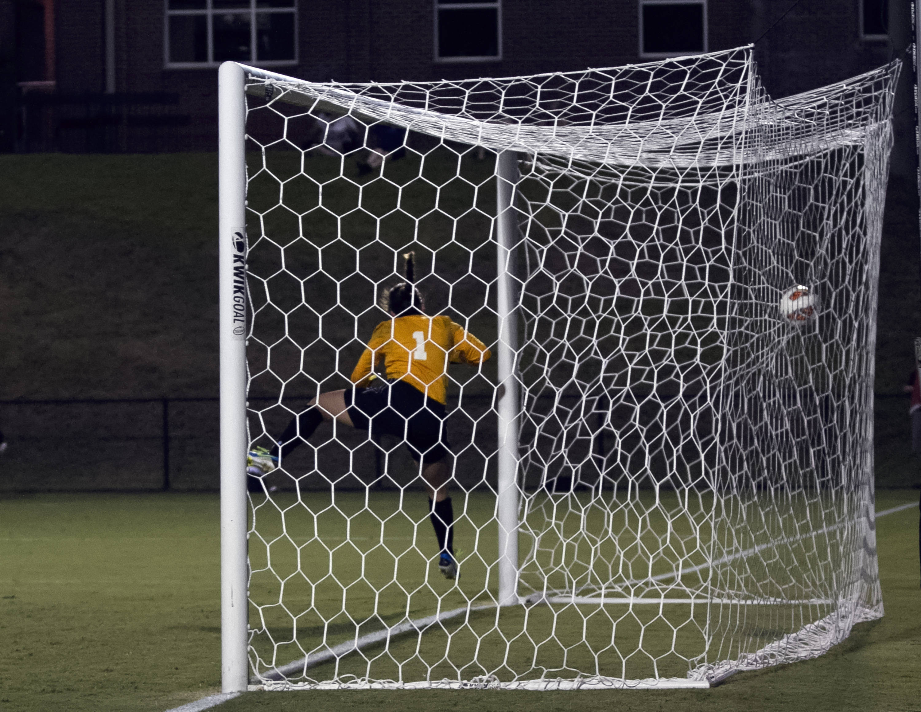 Jamia Fields game winning goal hits the back of the net, FSU vs North Carolina,  9-18-13, (Photo by Steve Musco)