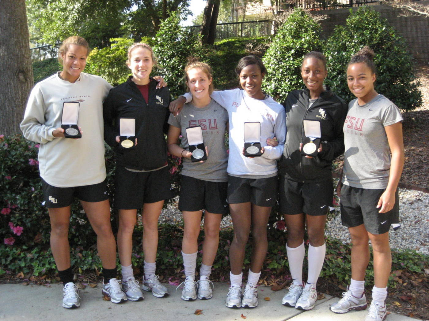 The 2009 FSU All-ACC honorees (L to R): Toni Pressley, Becky Edwards, Amanda DaCosta, Jessica Price, Tiffany McCarty and Ines Jaurena.