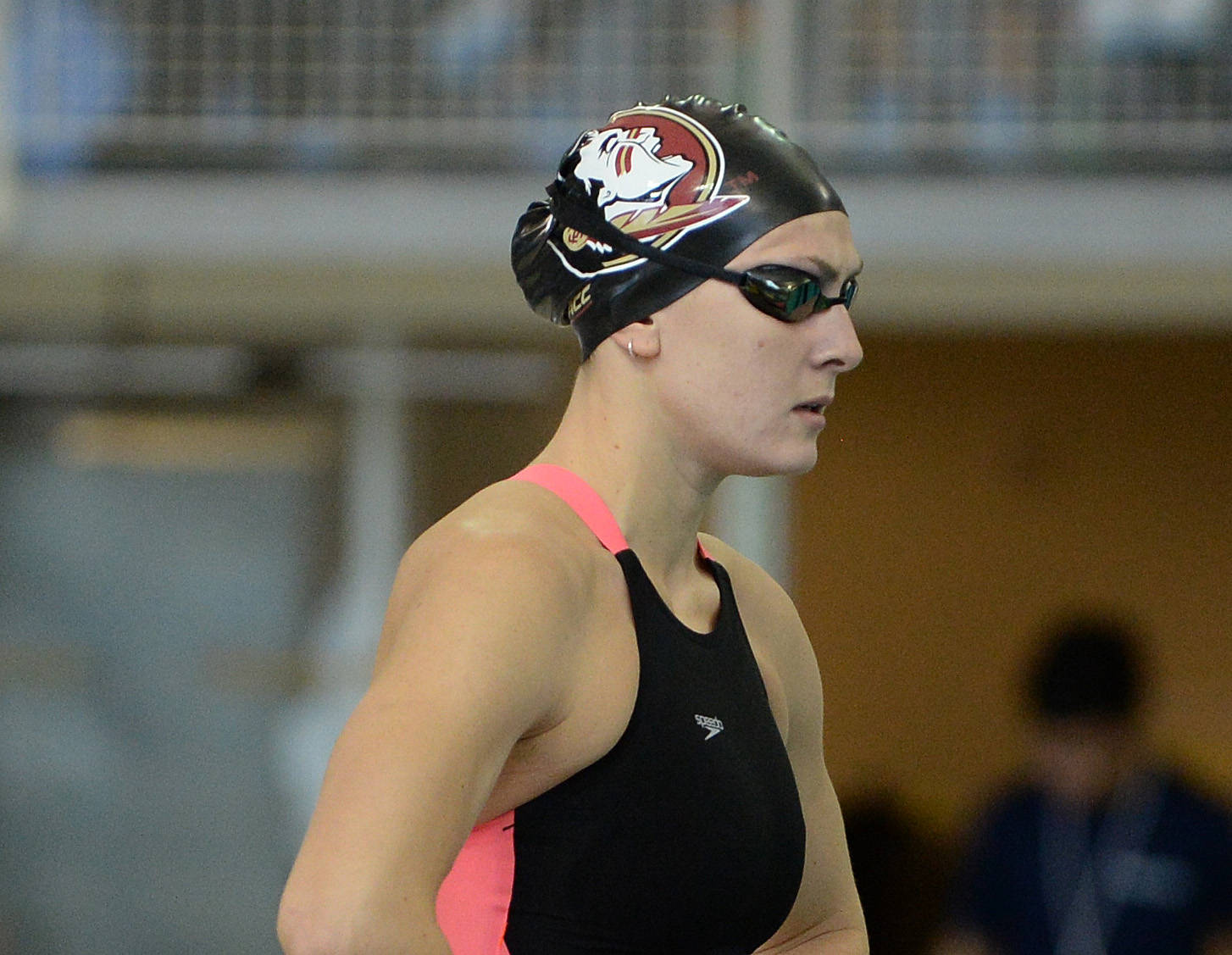 Chelsea Britt relaxes before the 100 fly - Mitch White