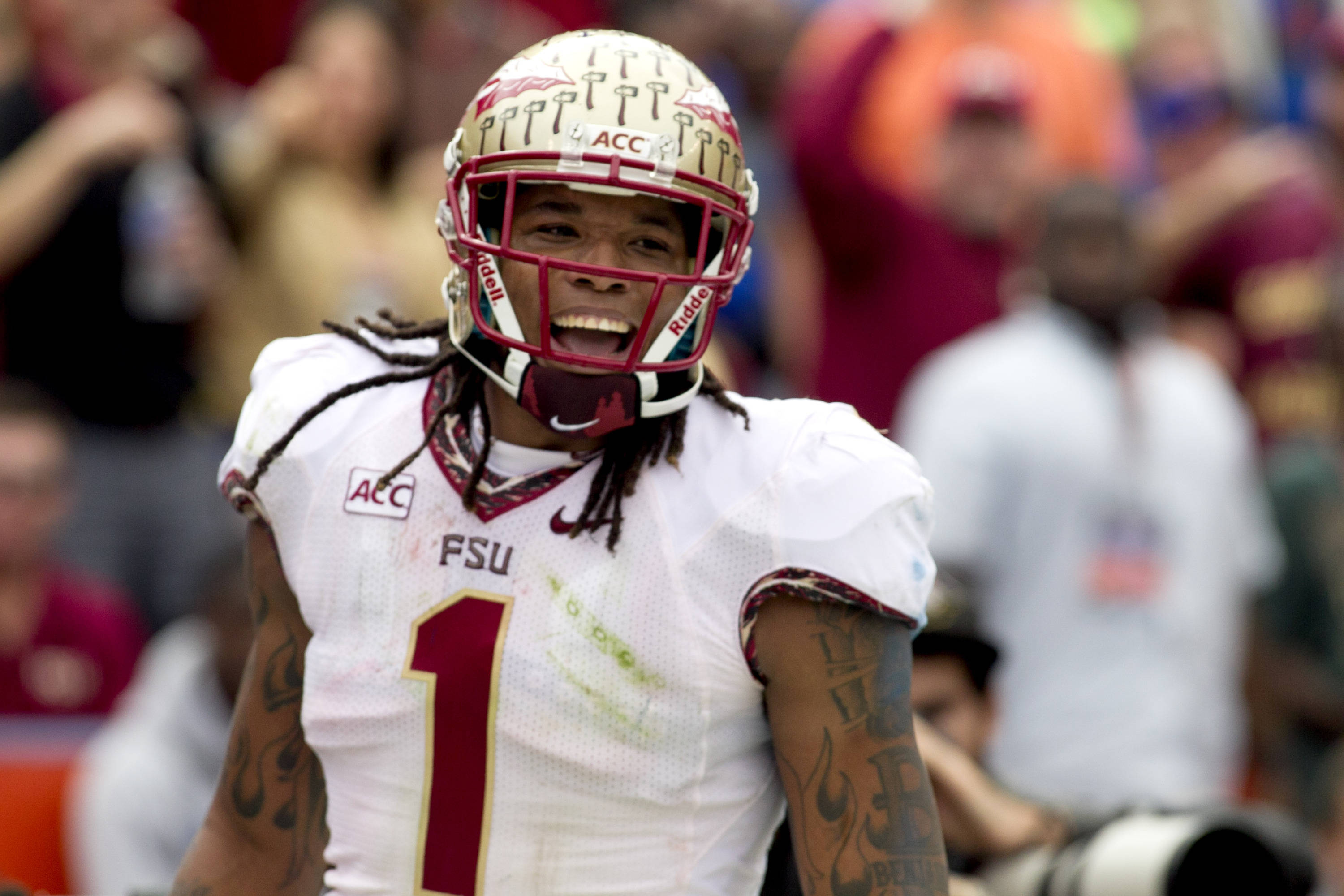 Kelvin Benjamin (1) is all smiles after his touchdown catch, FSU vs Florida, 11-30-13,  (Photo by Steve Musco)