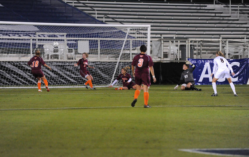 Lauren Switzer looks on as Jessica Price puts away the Seminoles' first goal of the game.