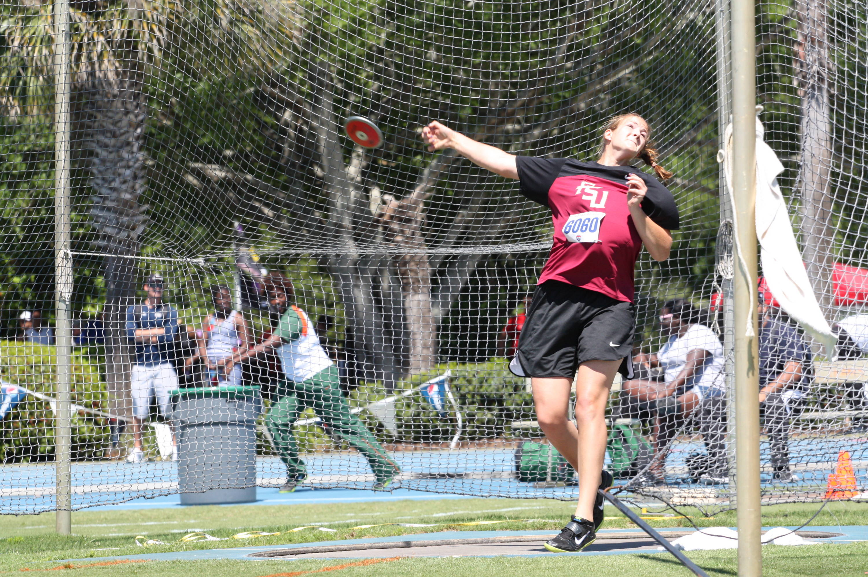 BreeAnne Campbell competes in the discus