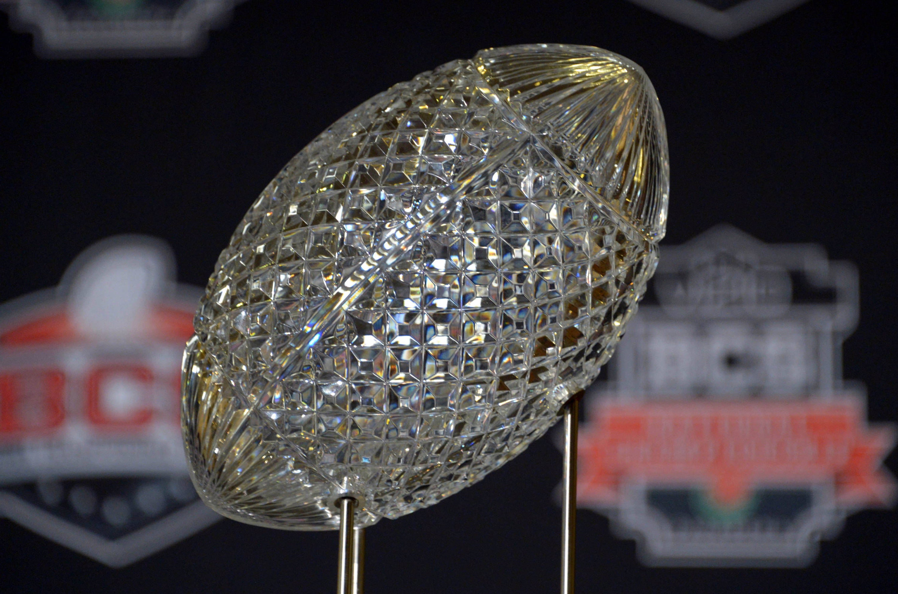 General view of the crystal football on the Coaches Trophy at 2014 BCS National Championship press conference at Newport Beach Marriott. Mandatory Credit: Kirby Lee-USA TODAY Sports