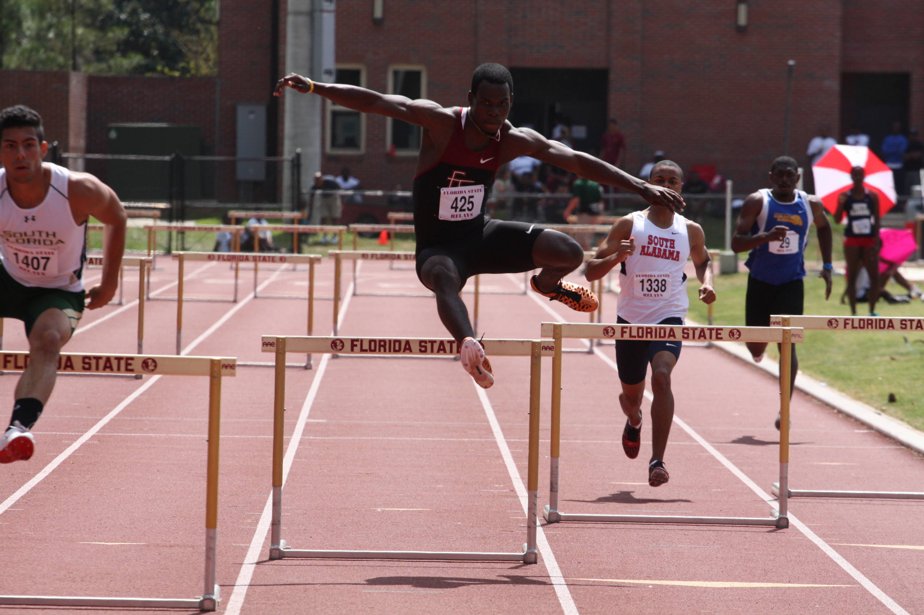 Maxwell Hyman ran a solid race in the 400-meter hurdles for the Seminoles.