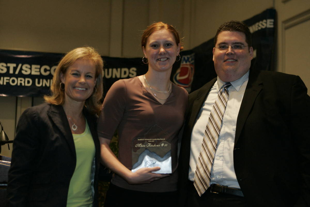 Brien Schmauch and Coach Sue with Matthew Schmauch Leadership Award winner Mara Freshour.