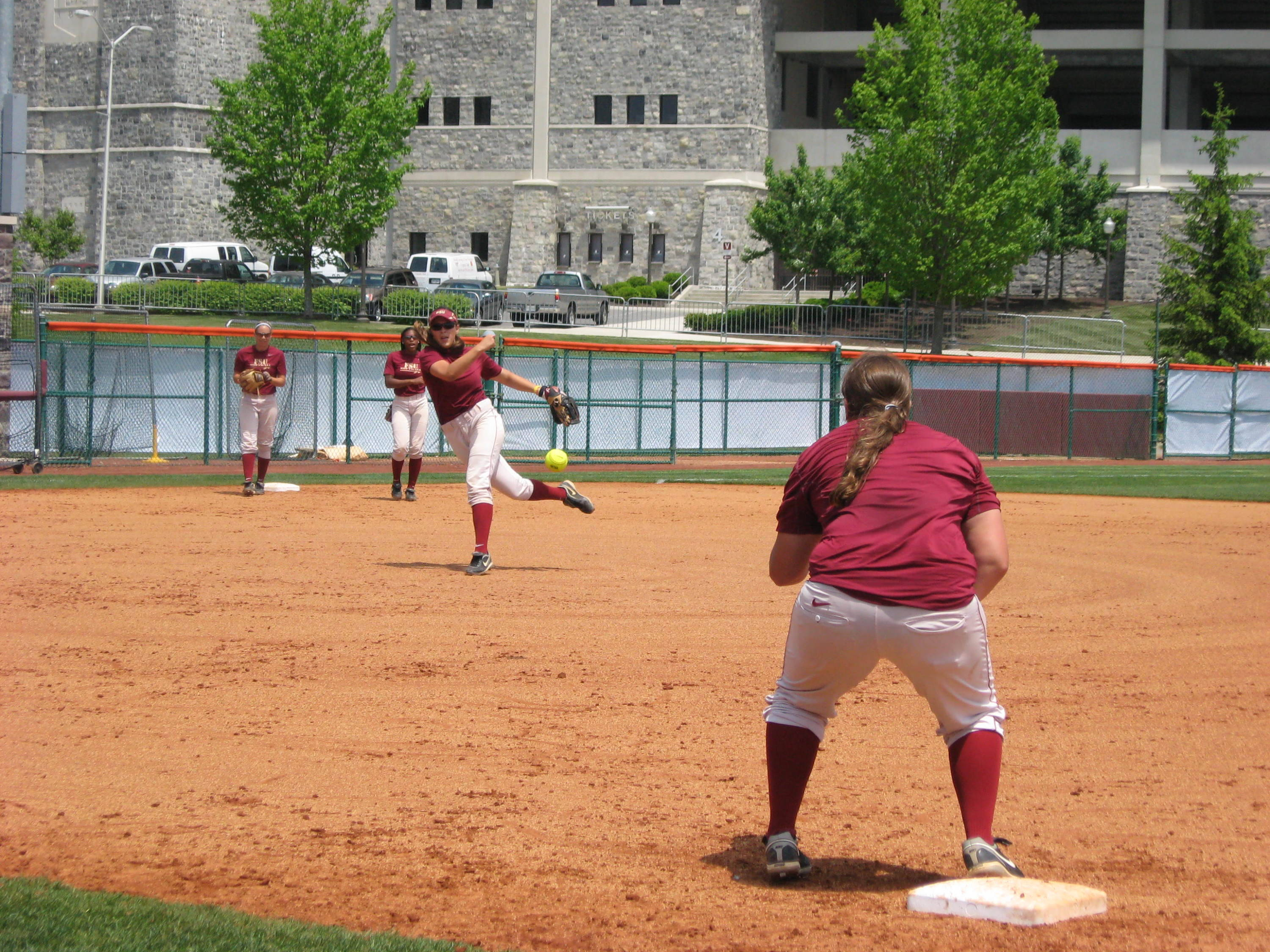 Ashley Stager makes the throw to Tory Haddad during practice on Thursday.