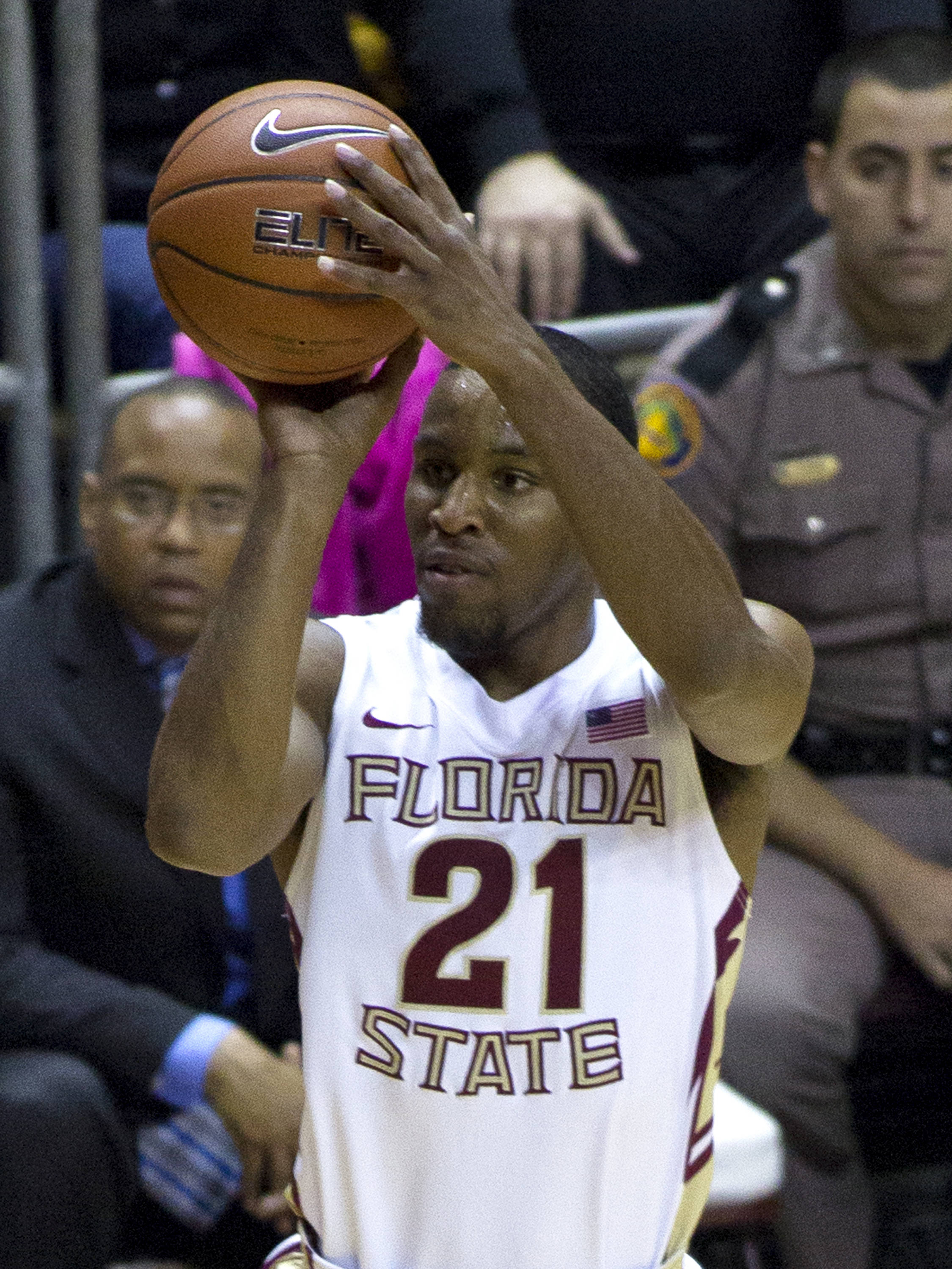 Michael Snaer (21), FSU vs Wake Forest, 02/26/13. (Photo by Steve Musco)