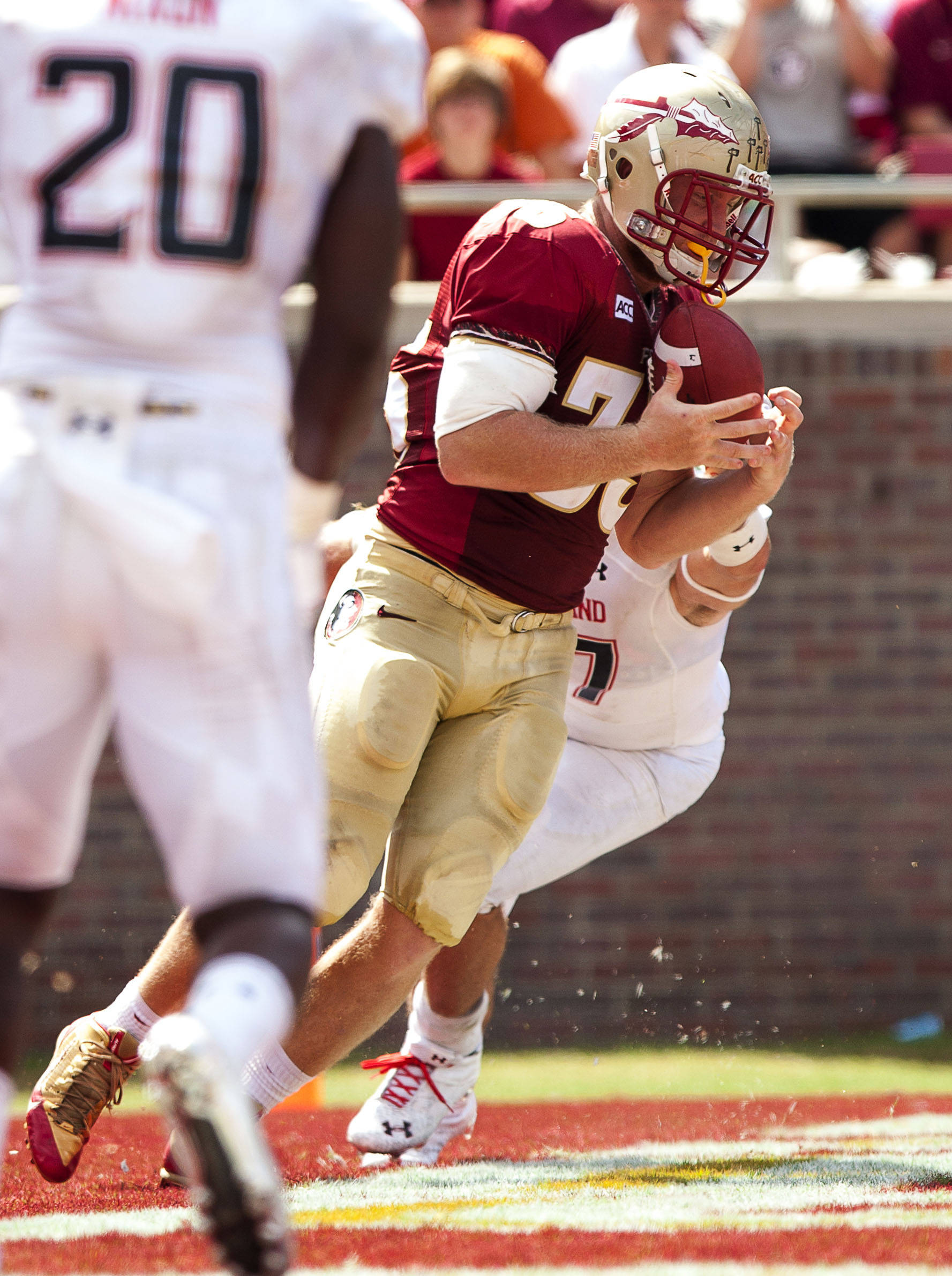 Nick O'Leary (35) makes a reception for a touchdown during FSU Football's 63-0 shutout of Maryland on Saturday, October 5, 2013 in Tallahassee, Fla.