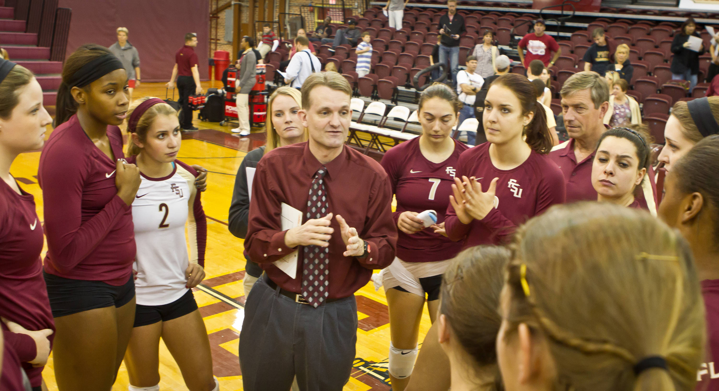 Chris Poole addresses the team after winning match versus Boston College.