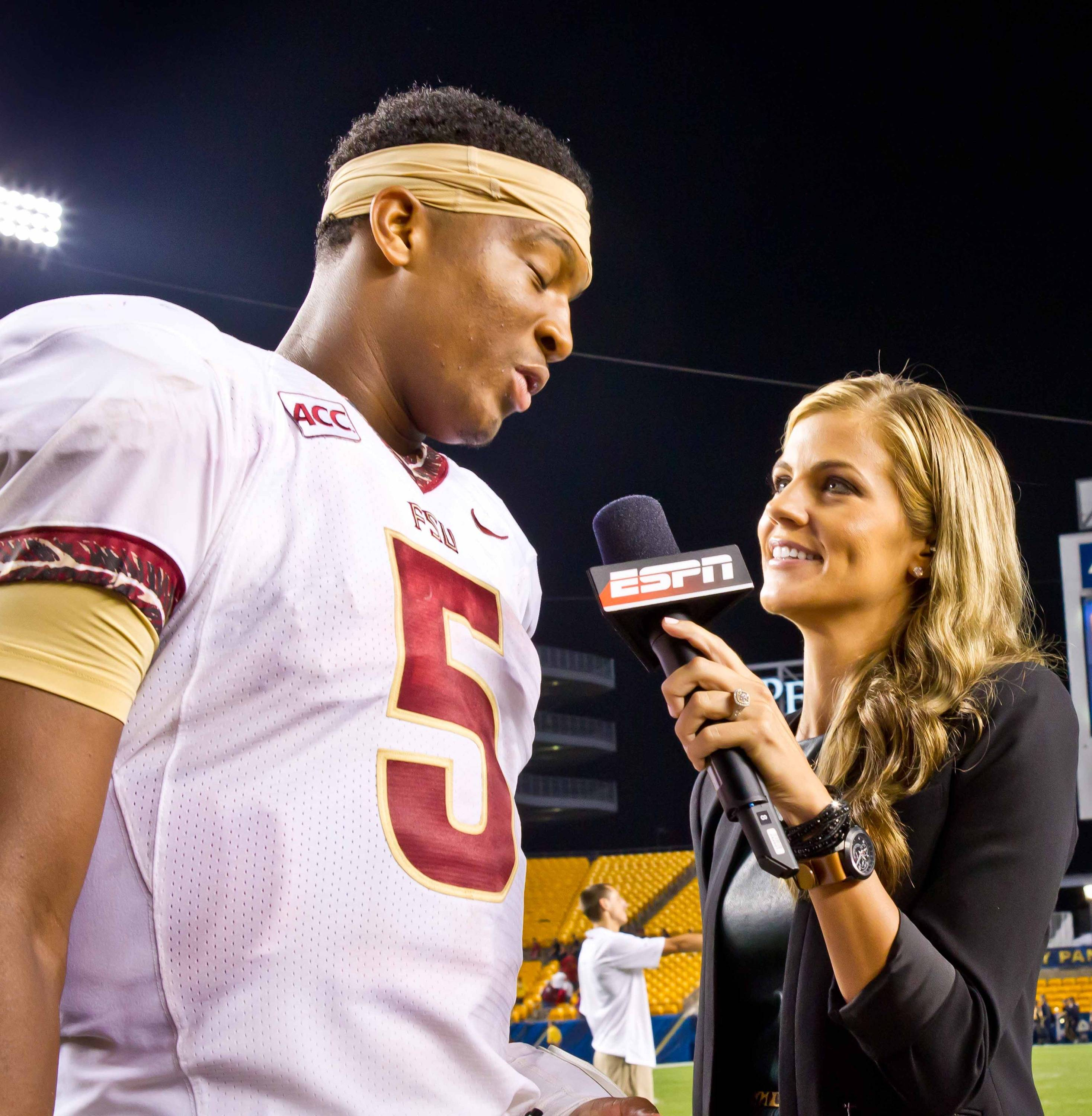 Jameis Winston (5) is interviewed by ESPN's Samantha Ponder.
