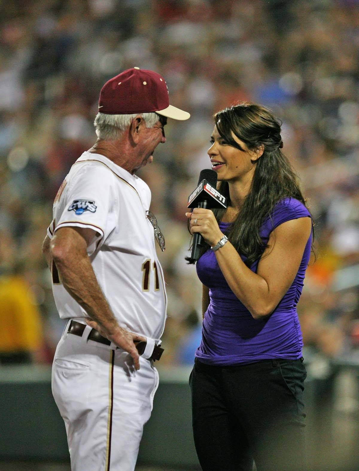 FSU head coach Mike Martin talks to Jessica Mendoza of ESPN before the top of the fifth inning.