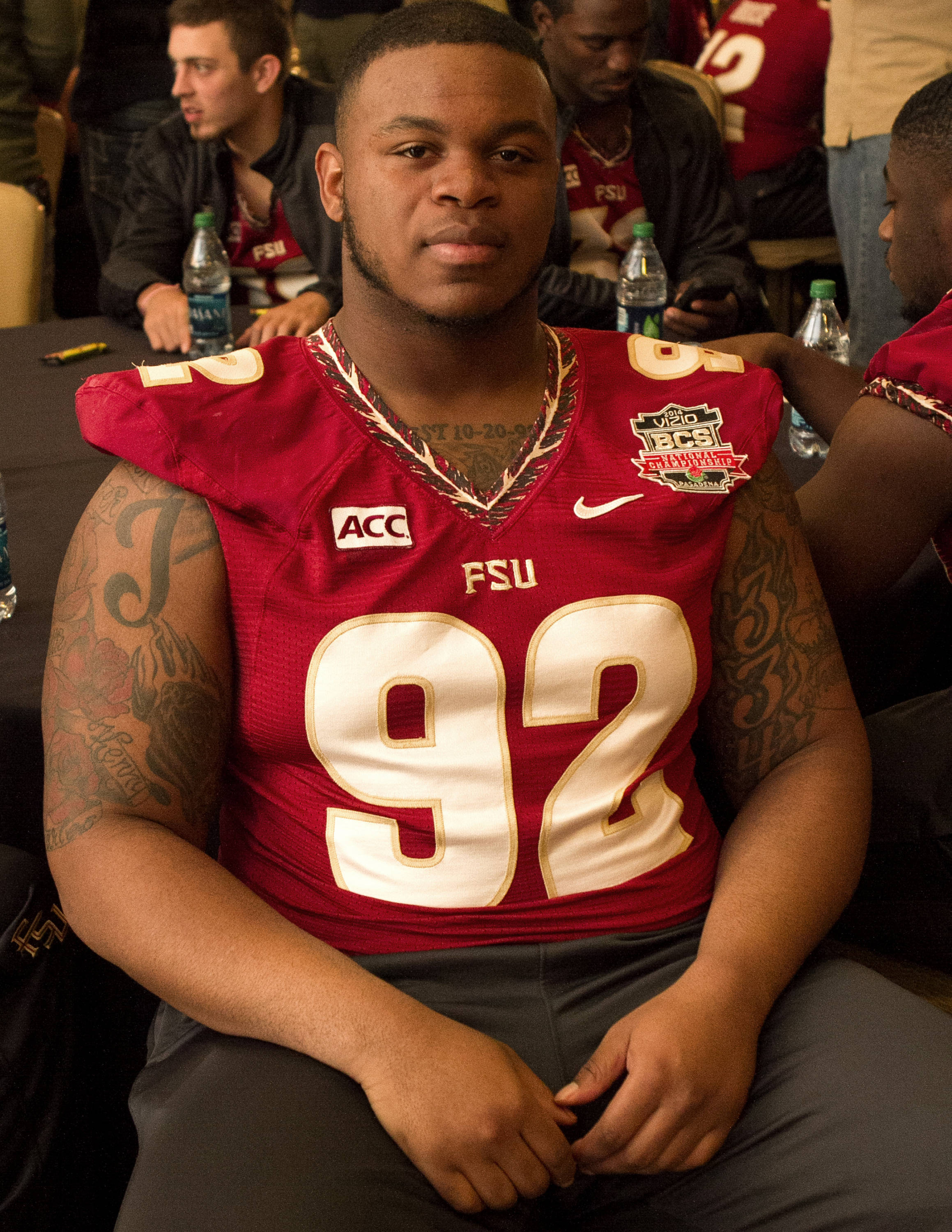 Justin Shanks (92), FSU at BCS Championship Media Day,  1-04-14,  (Photo by Steve Musco)