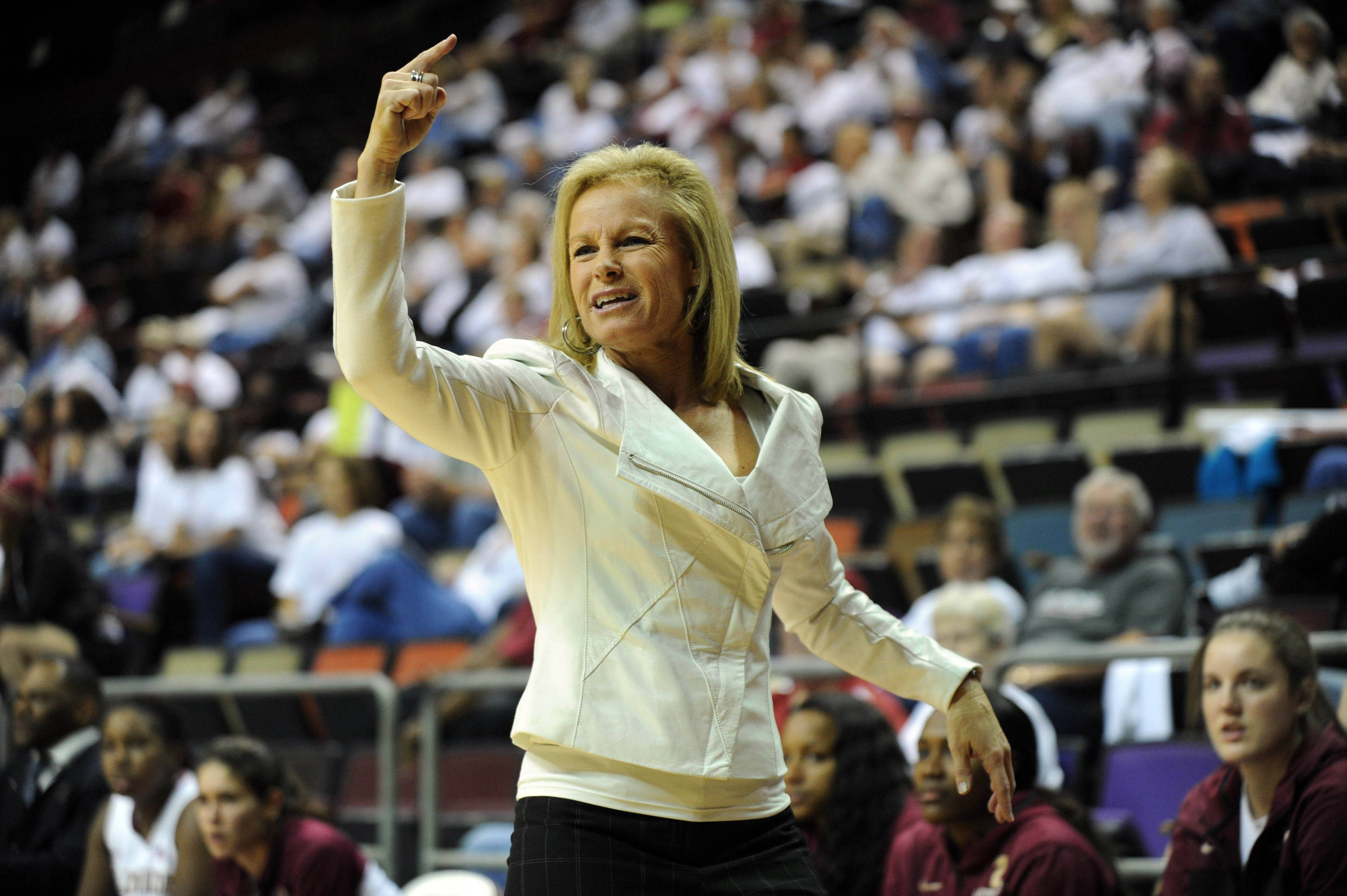 Dec 4, 2013; Tallahassee, FL, USA; Florida State Seminoles head coach Sue Semrau during the game against the Michigan State Spartans at the Donald L. Tucker Center (Tallahassee). Mandatory Credit: Melina Vastola-USA TODAY Sports