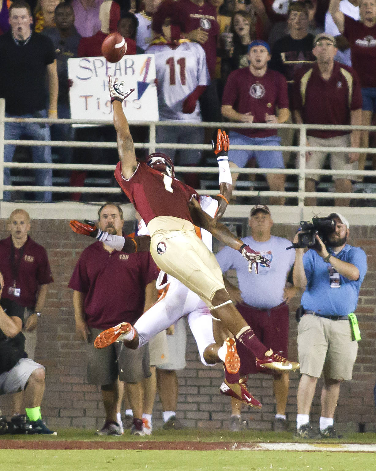 Kelvin Benjamin (1) going high for a pass, FSU vs Clemson, 9/22/12 (Photo by Steve Musco)